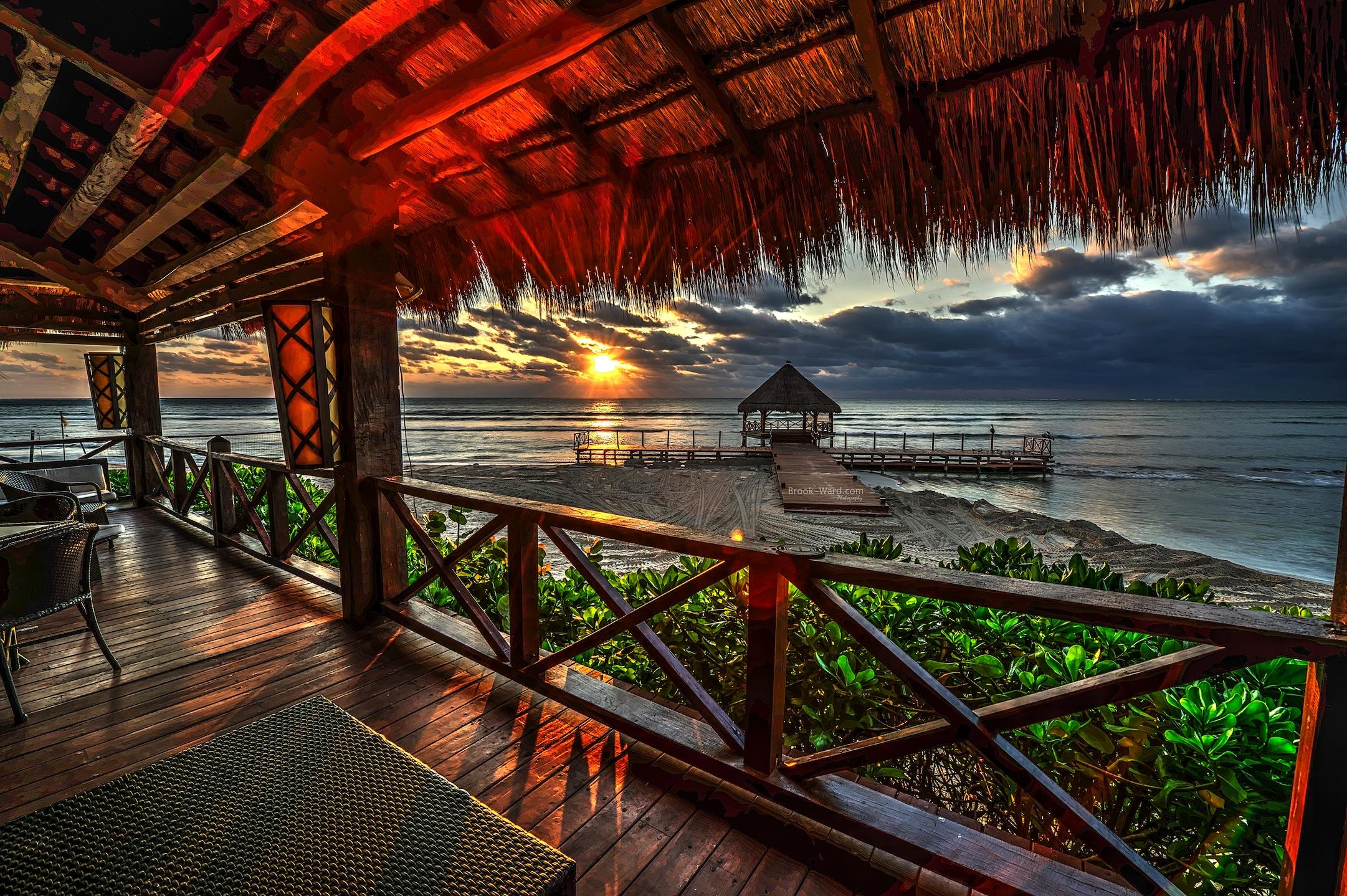 Wallpaper Ocean Sun Beach Bar Sunrise Silver Mexico