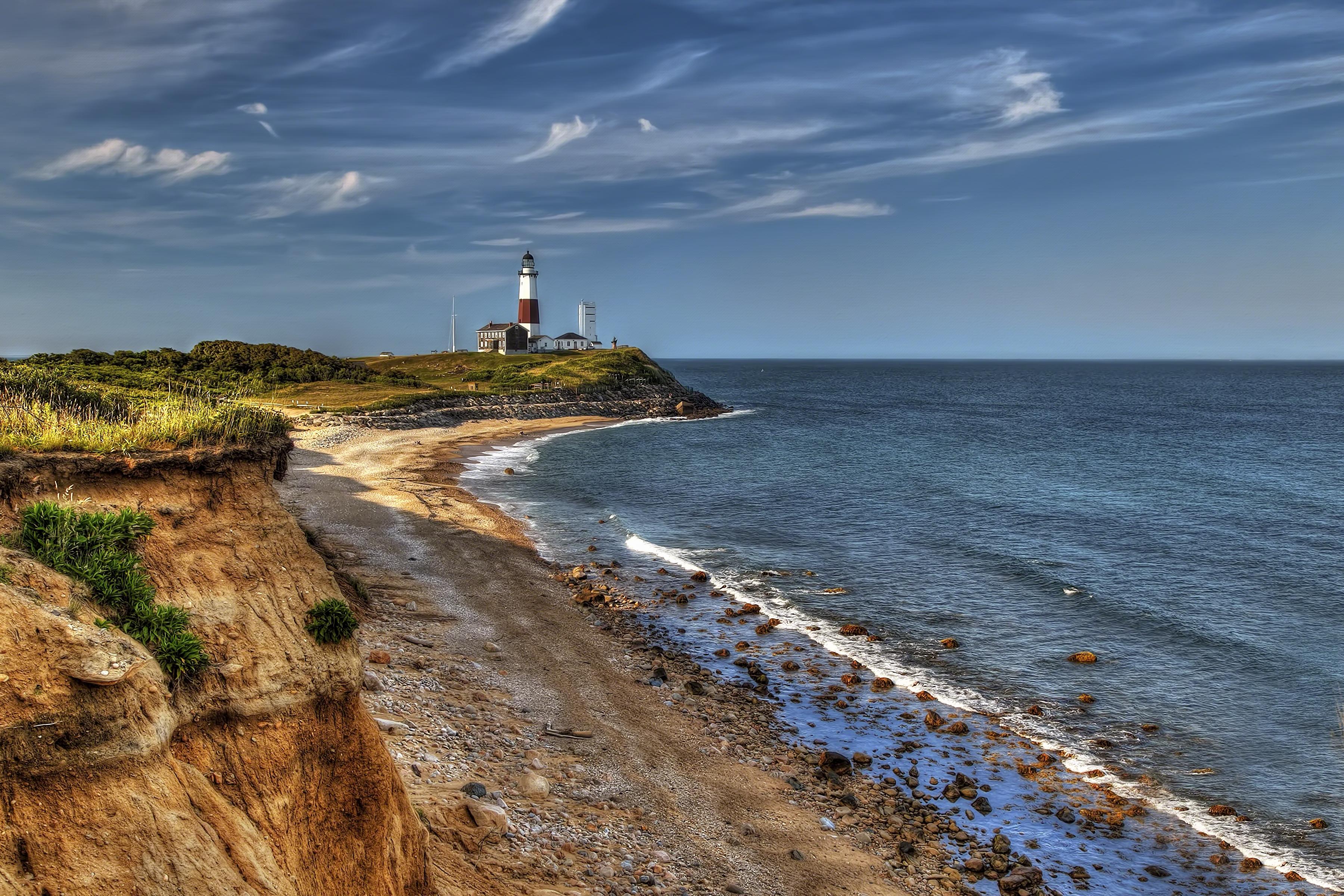 wallpaper ocean lighthouse newyork beach rock point