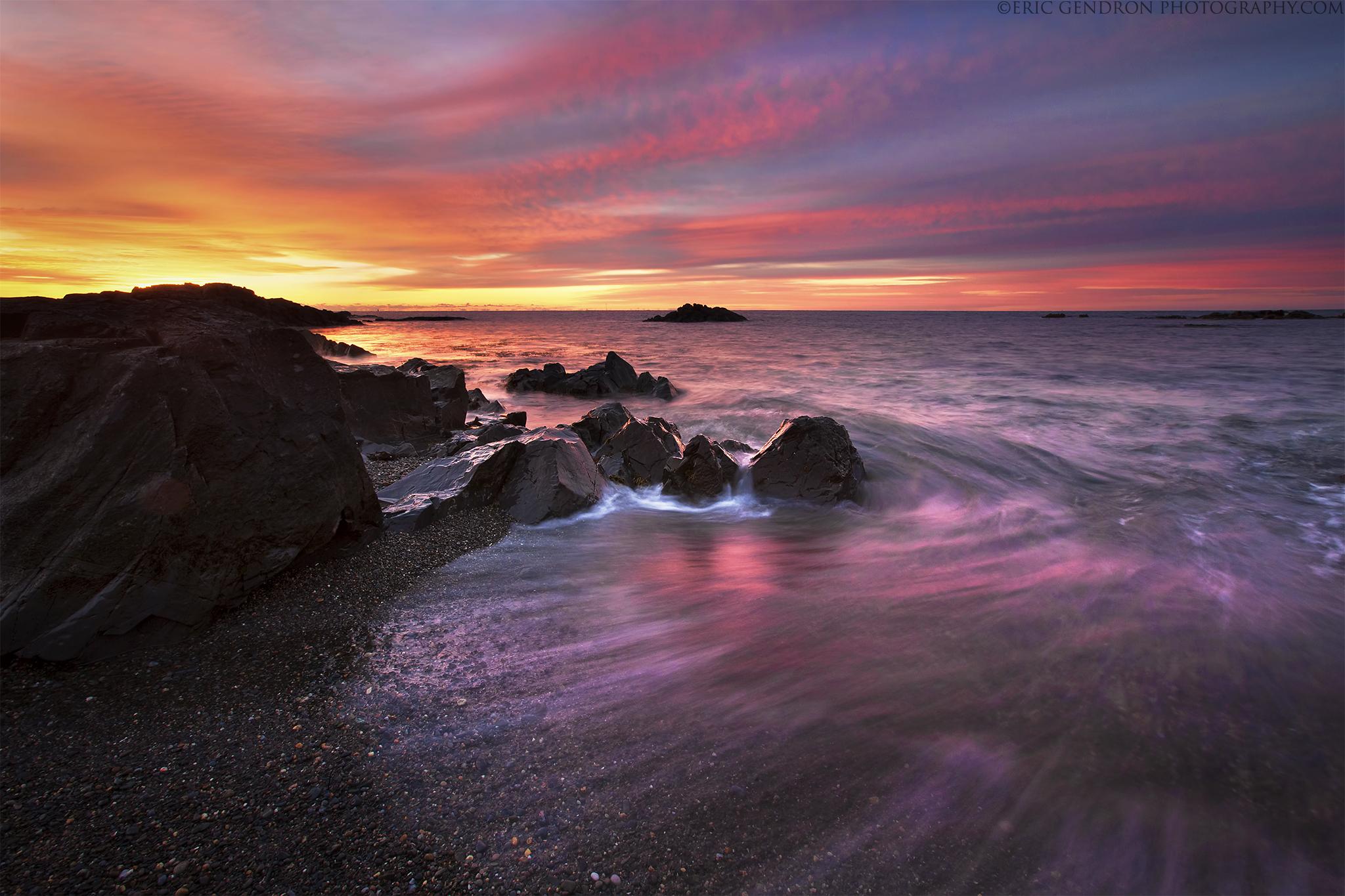 Wallpaper : ocean, morning, red, Sun, seascape, beach, water