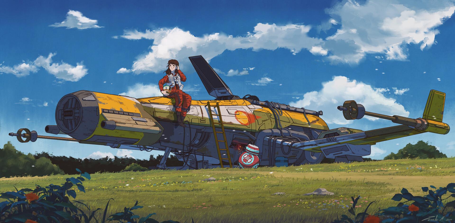 Wallpaper Original Characters Studio Ghibli Star Wars Anime Girls Long Hair 2d Brunette Crossover Parody Airplane Spaceship Bb 8 Clouds Field Fan Art Fighter Pilot Outfit 1920x943 Vfgx 1785769 Hd Wallpapers Wallhere