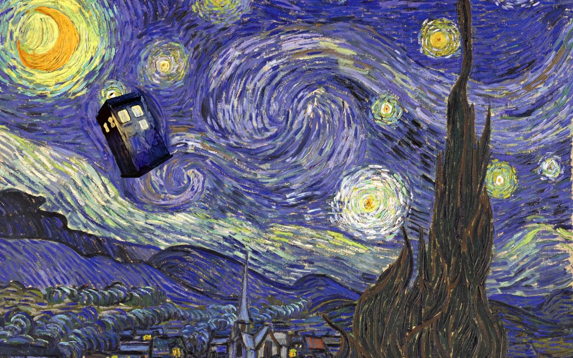 wallpaper painting doctor who tardis vincent van gogh