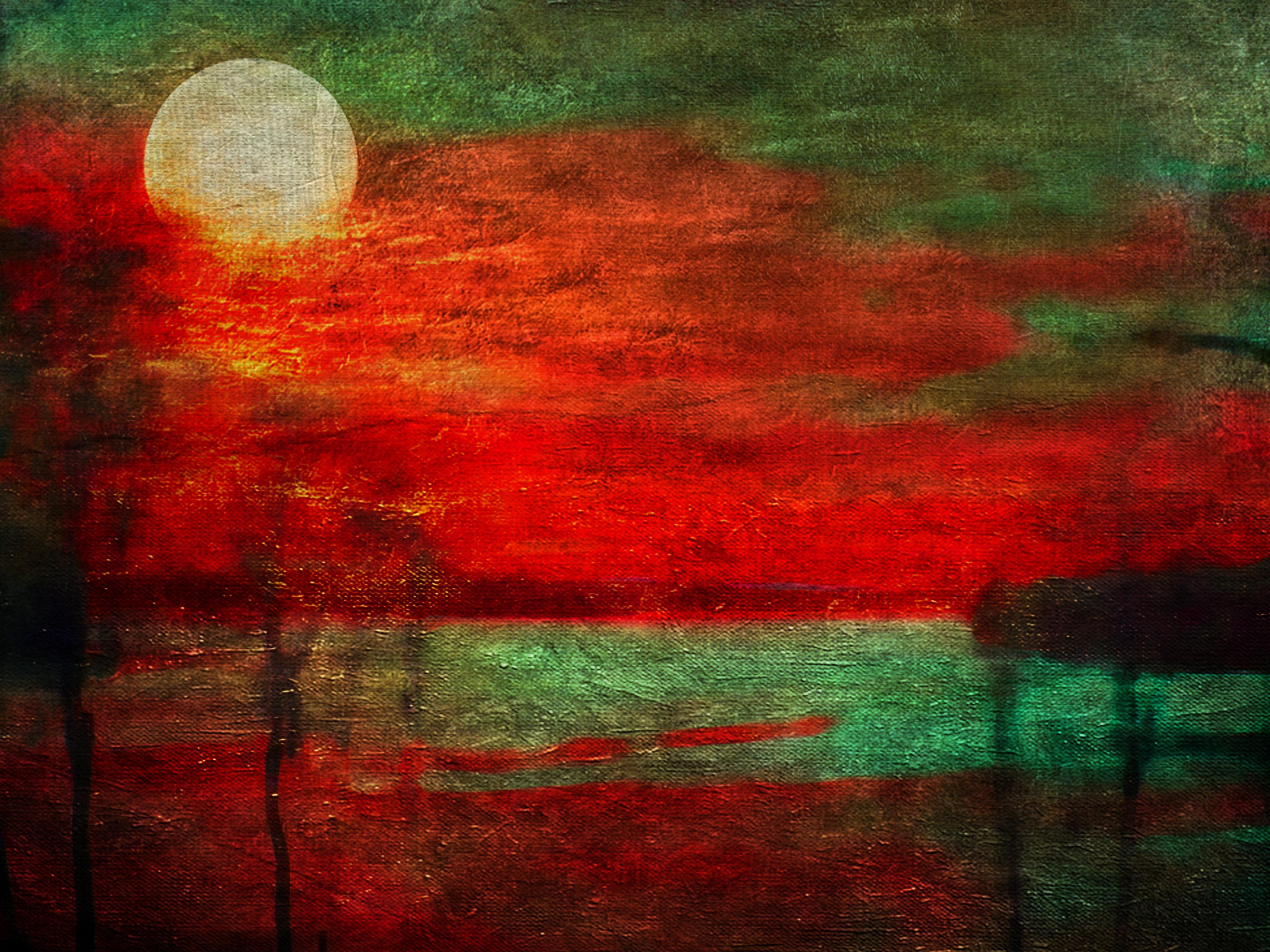 Papel De Parede Pintura Ba A Vermelho Verde Textura