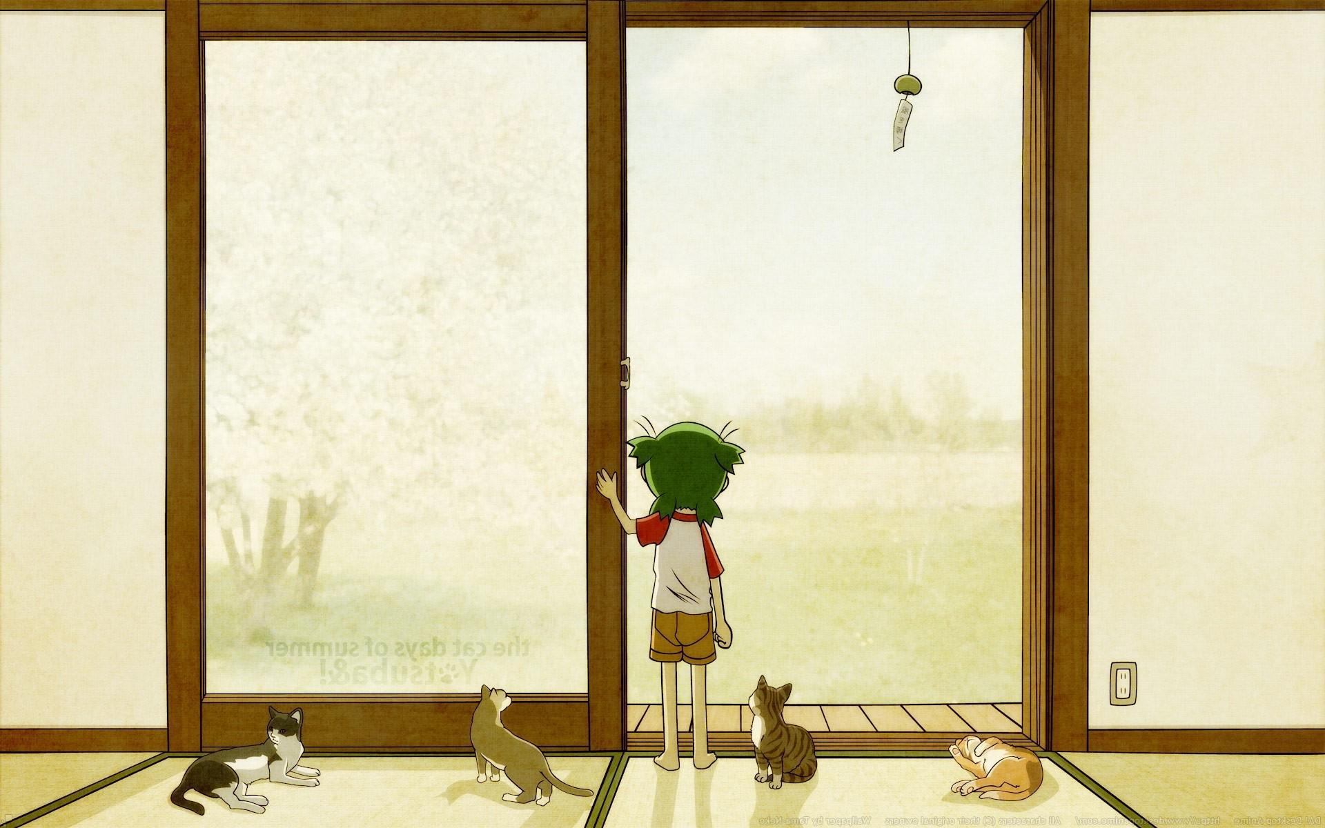 La Peinture Chat Fenêtre Anime Chambre Mur Verre Yotsubato Design  Du0027intérieur Mural Conception Fond
