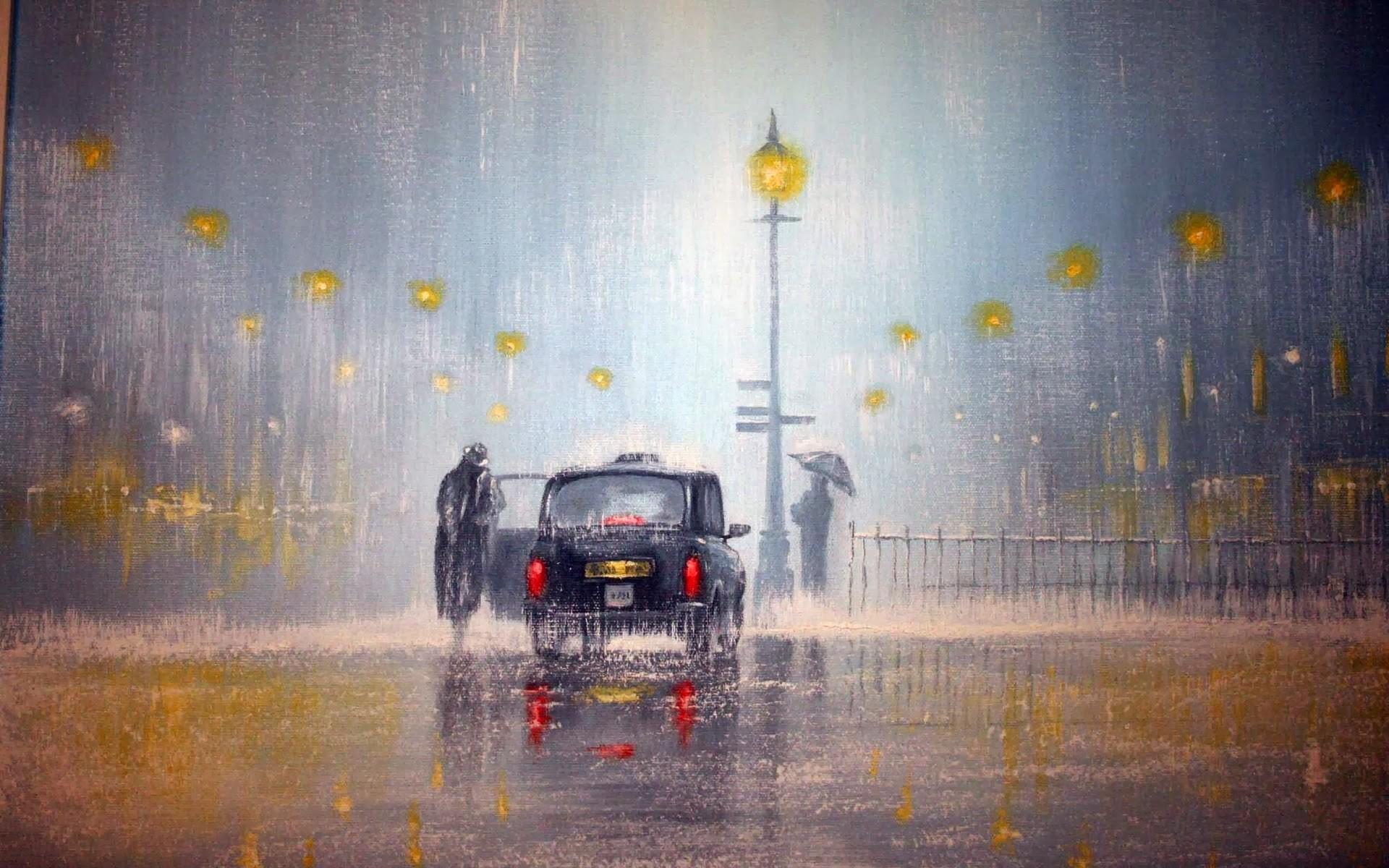 Painting City Reflection Rain Artwork Lantern Evening Morning Mist Jeff Rowland Fog Weather Screenshot Atmospheric Phenomenon