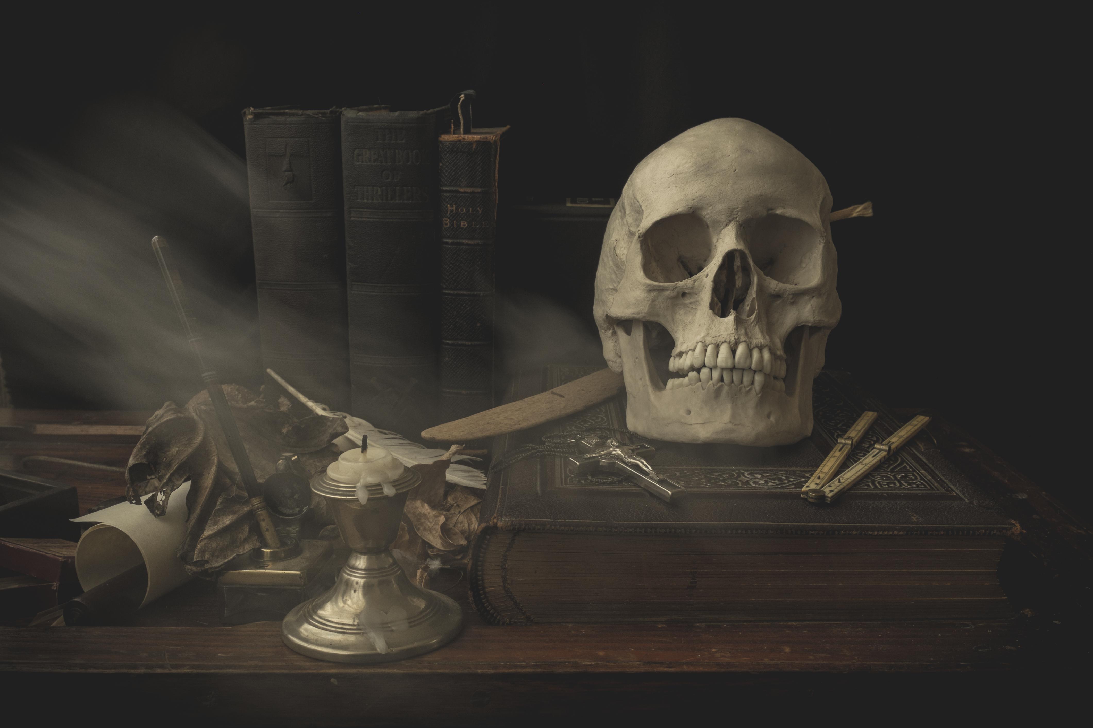 Masaüstü Boyama Karanlık Korku Gölge Resim Zaman Kafatası