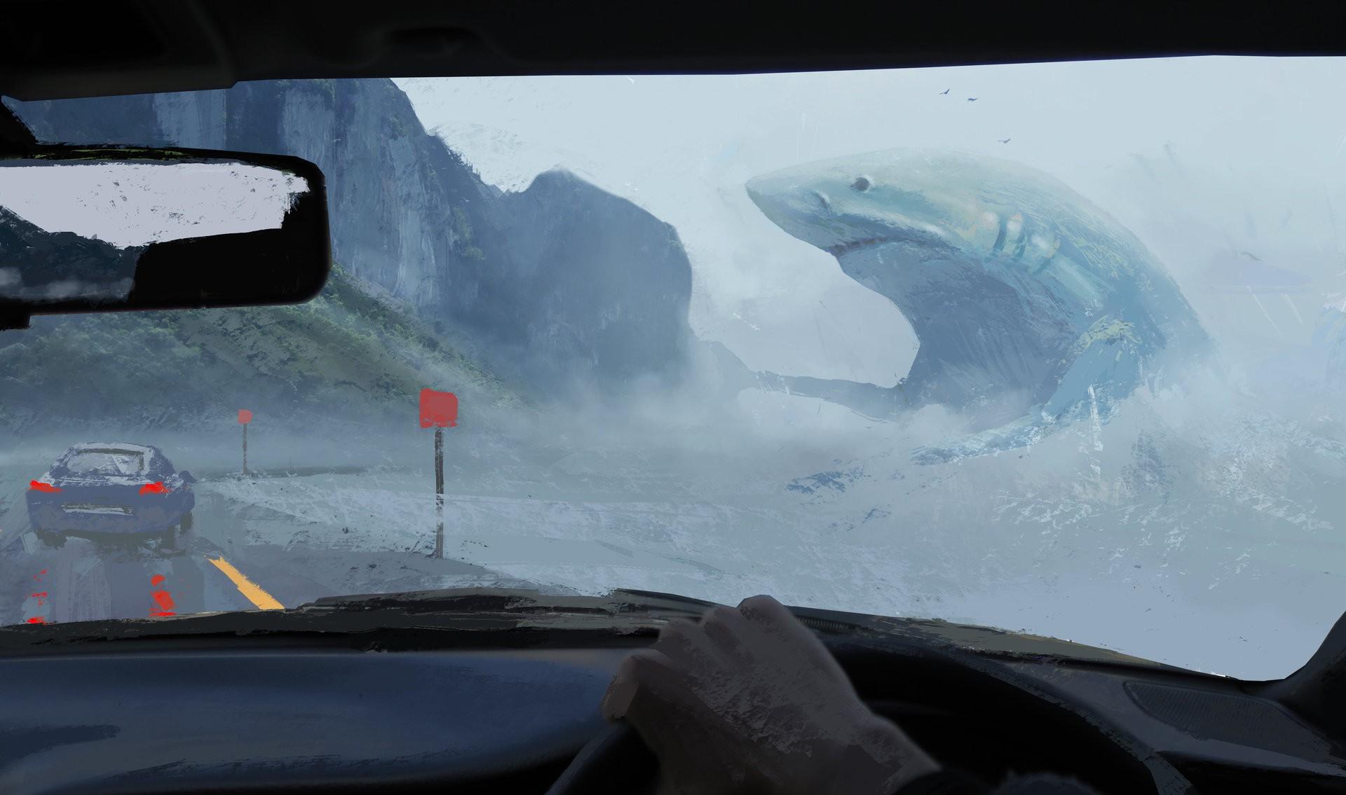 wallpaper painting digital art animals fantasy art sea shark snow vehicle road. Black Bedroom Furniture Sets. Home Design Ideas
