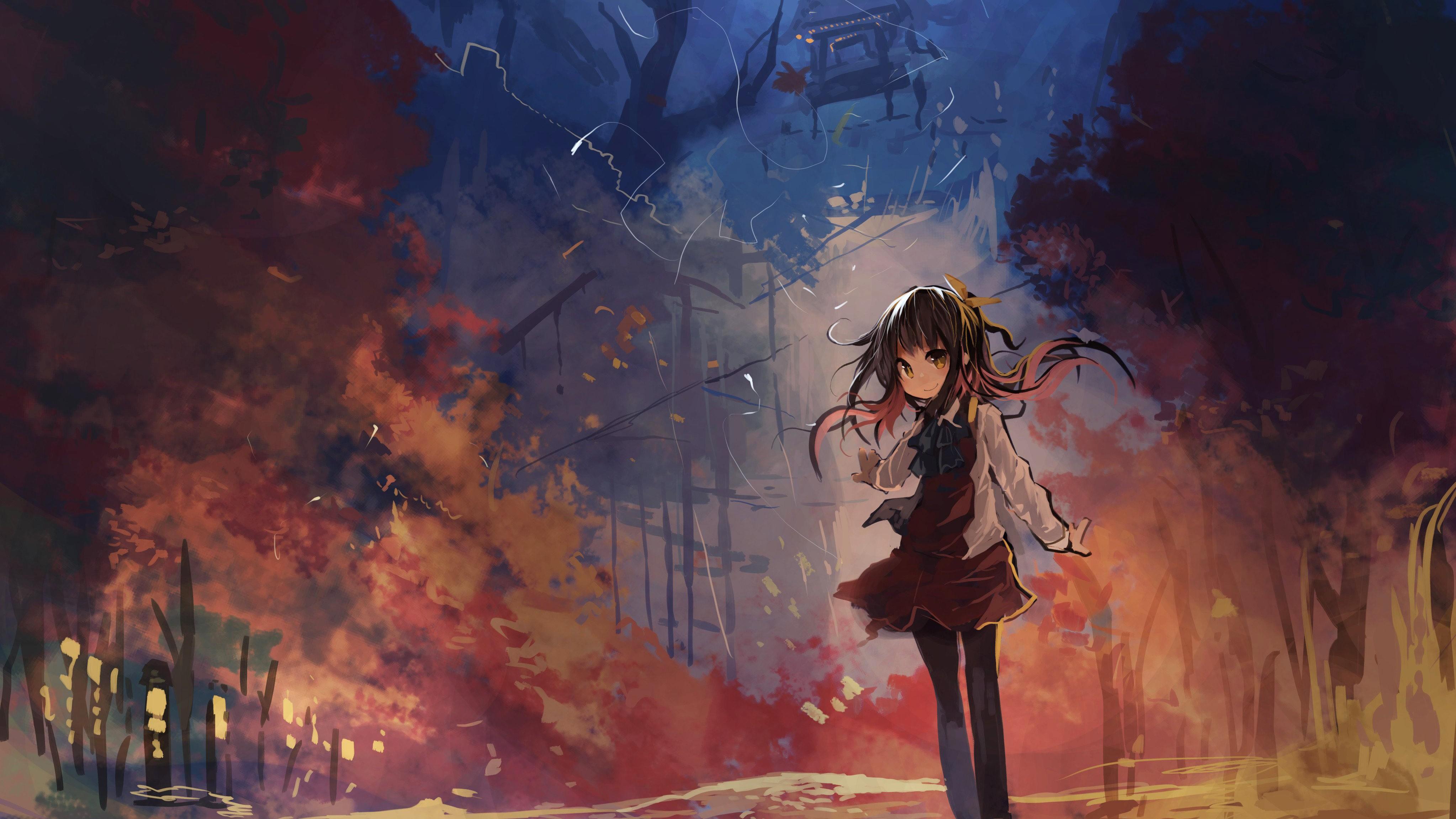 Painting fall anime girls brunette mythology art screenshot computer wallpaper