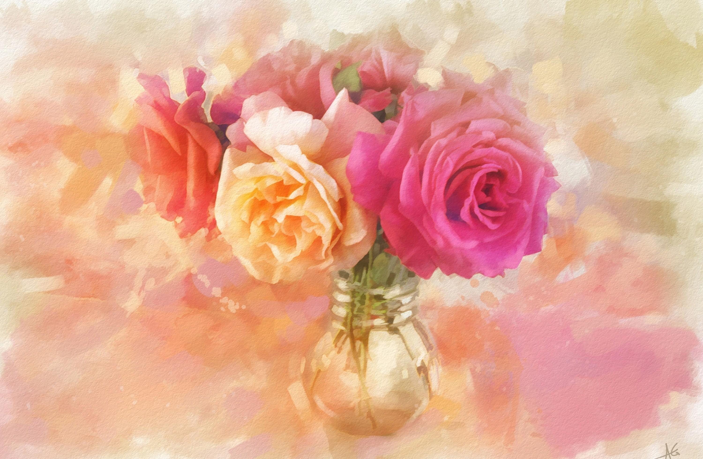 Masaüstü Boyama çiçekler Resim Gül şeftali çiçeği Pembe
