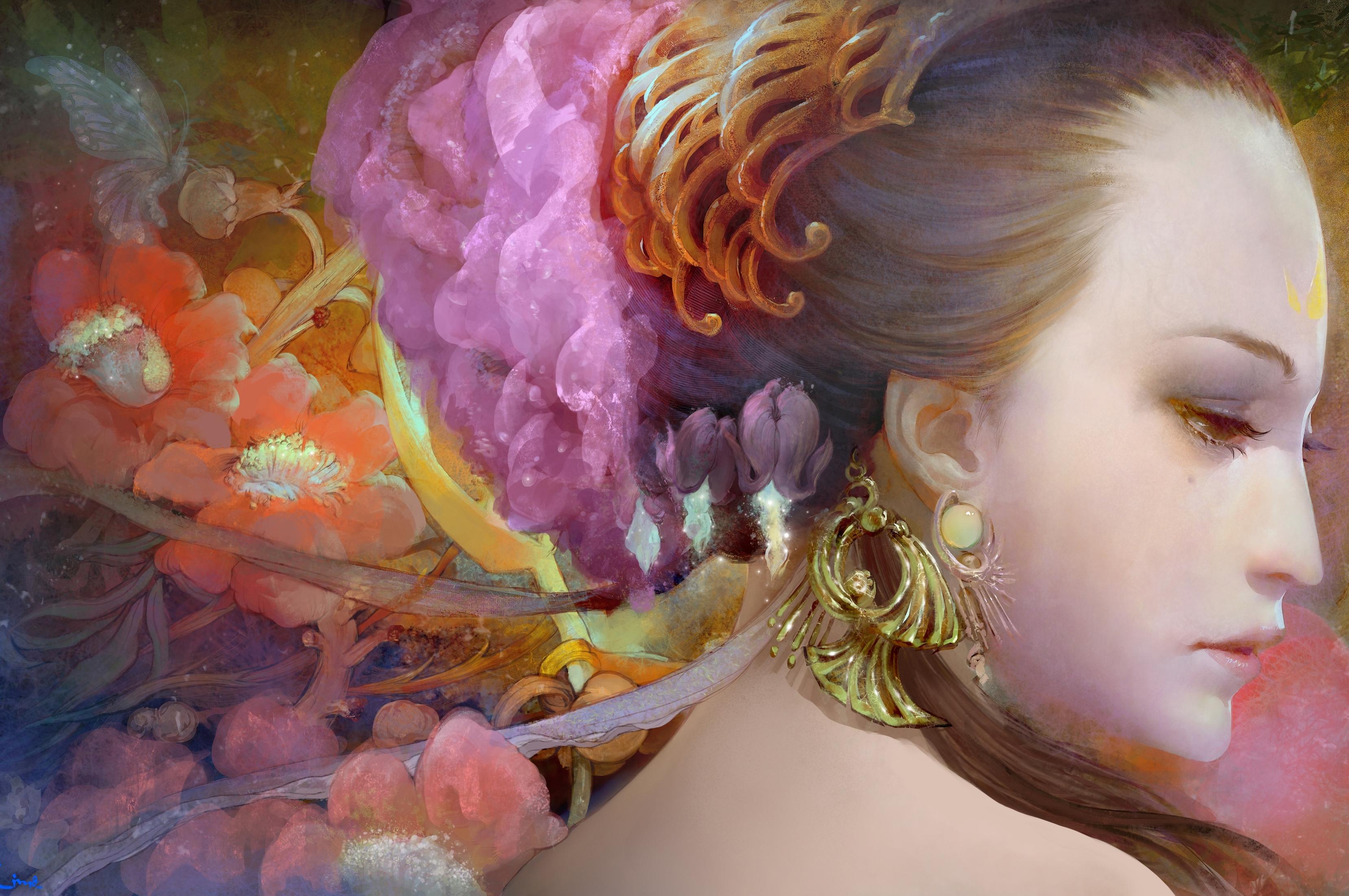 üzlet eladó hangulatos friss divat stílusok Ingyenes háttérképek : festmény, virágok, profil, haj, rózsaszín ...