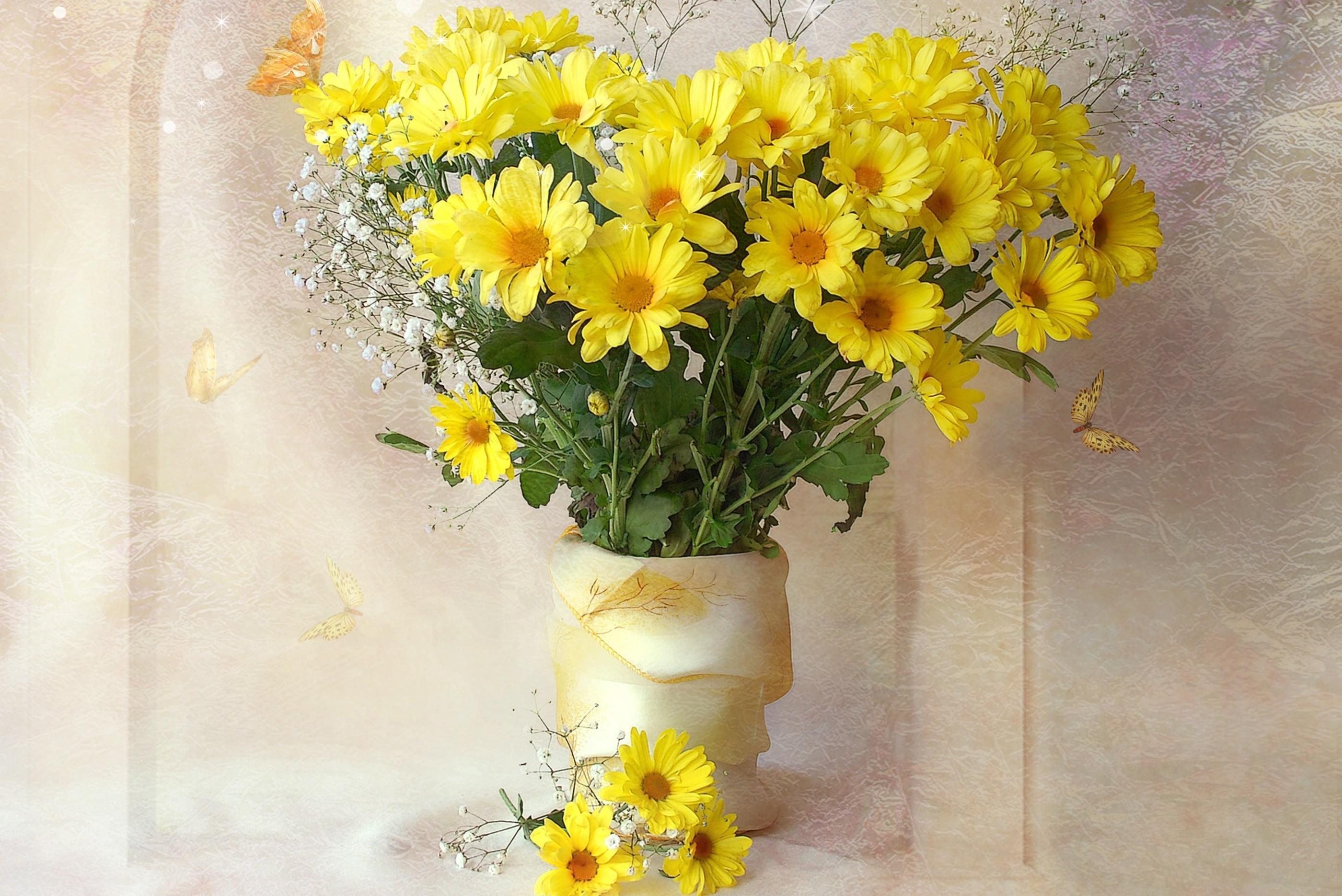 Wallpaper : painting, yellow, bouquets, chrysanthemums, flora, petal ...