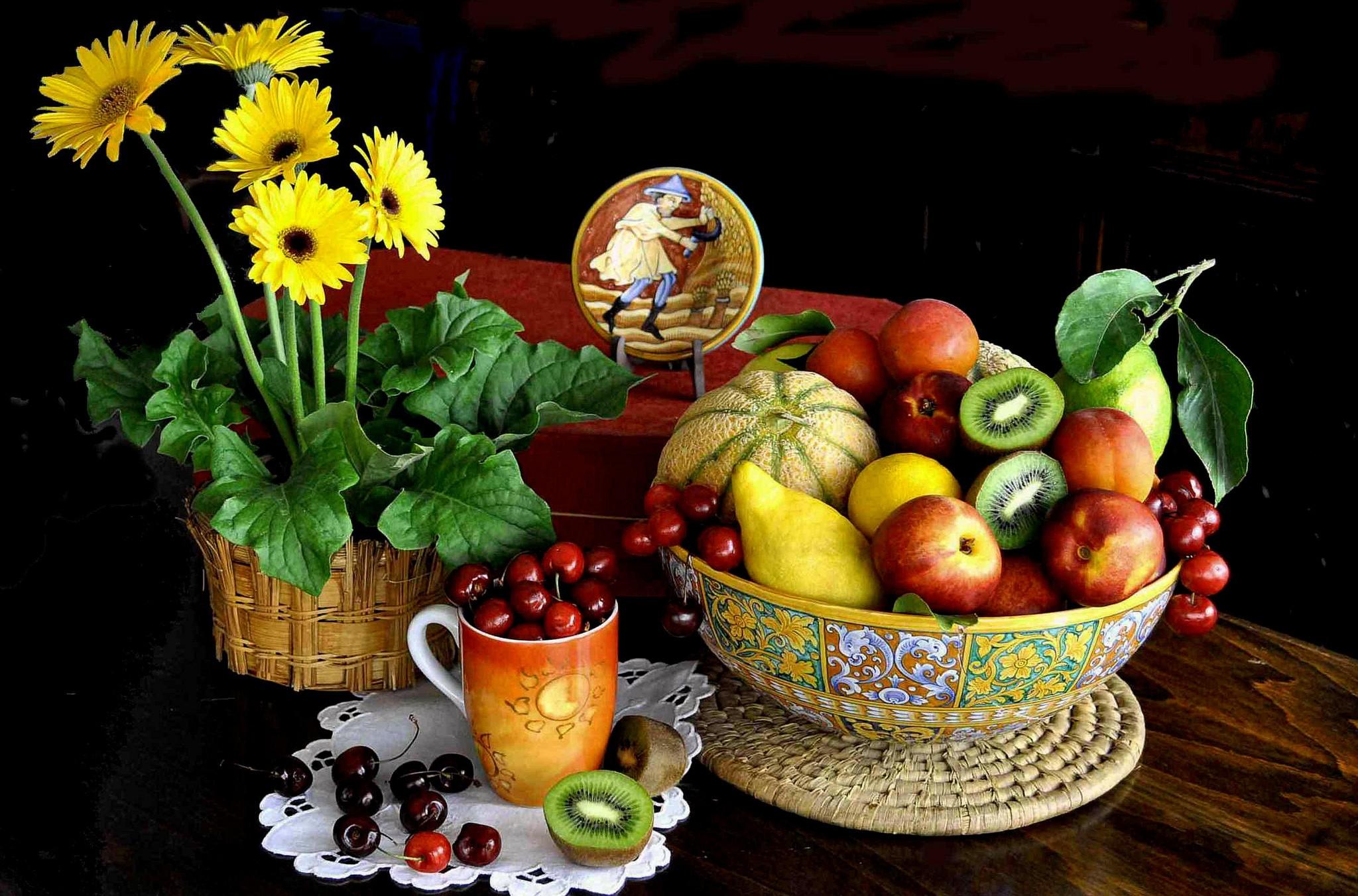 Hintergrundbilder : Malerei, Lebensmittel, gelbe Blumen, Frucht ...