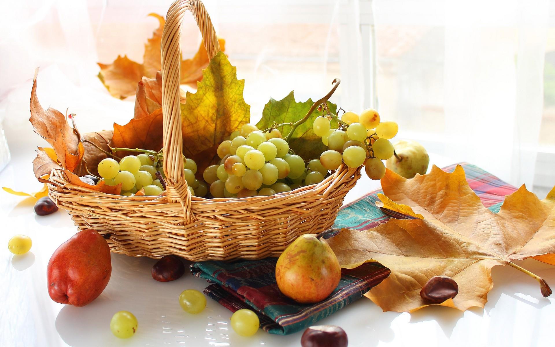 Masaüstü Boyama Gıda Meyve üzüm Armutlar Sonbahar Yaprak