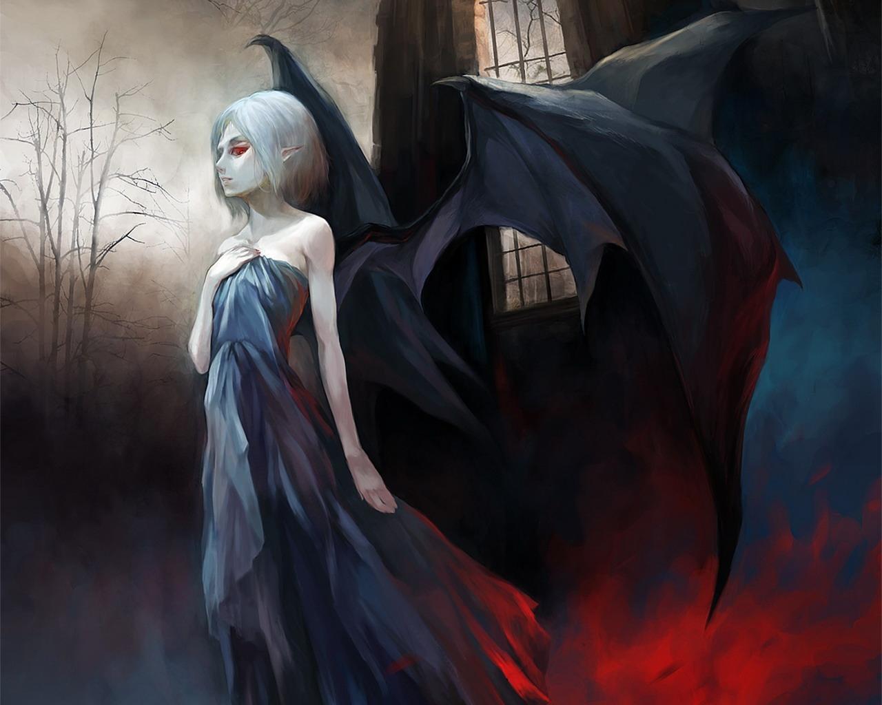 Fantasy Art Vampires Wallpapers Hd Desktop And Mobile: Wallpaper : Painting, Illustration, Anime, Wings, Demon