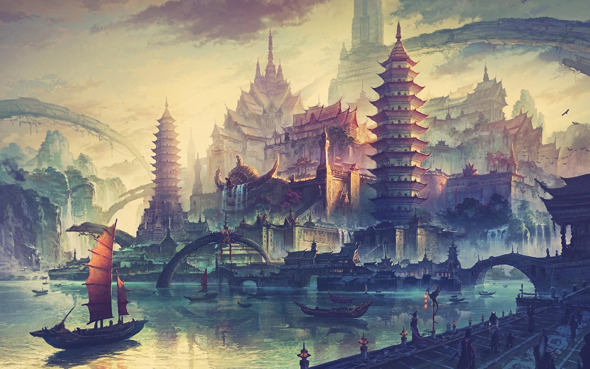 Painting Illustration Boat Fantasy Art Cityscape Asian Architecture Artwork City Evening Tower Landmark Screenshot Watercolor