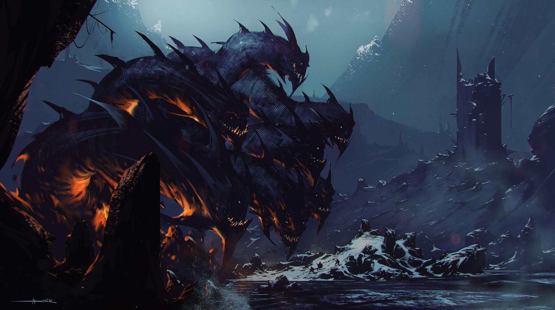 Painting Illustration Digital Art Artwork Graphic Design Dark Fantasy Concept Dragon Hydra Mythology Ghost Ship