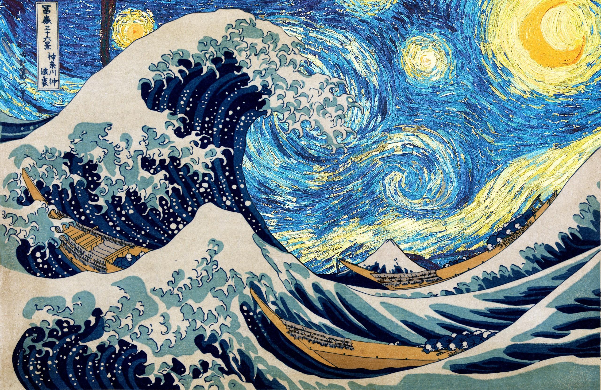 Sfondi La Pittura Illustrazione Notte Stellata Hokusai Vincent