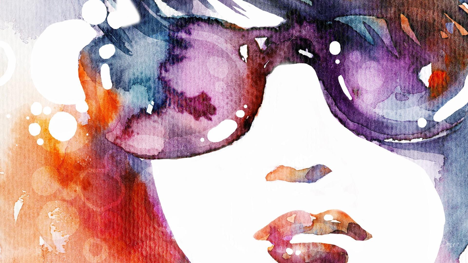 53f0b30ca34 Wallpaper : painting, illustration, sunglasses, anime, glasses ...