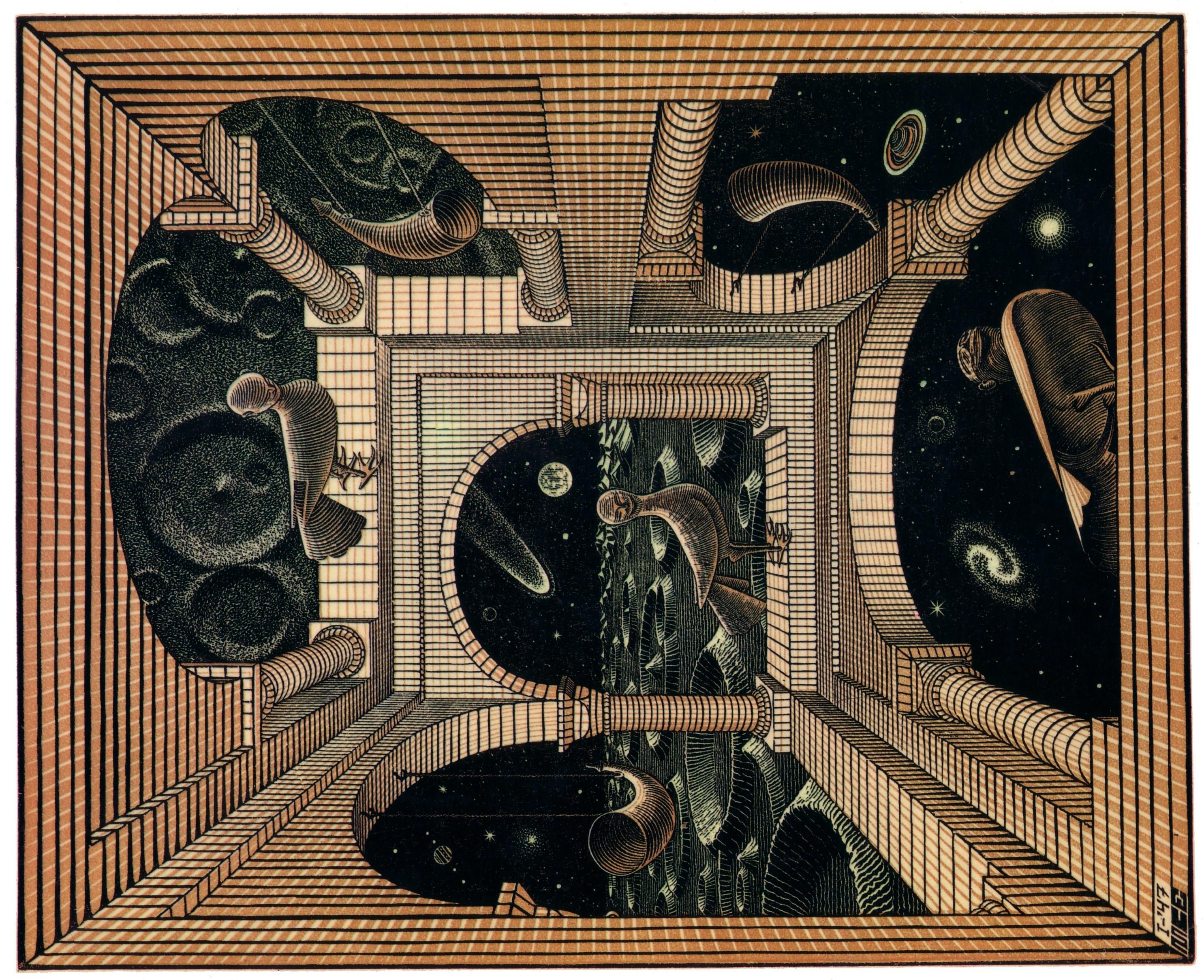 デスクトップ壁紙 ペインティング 図 木材 パターン 錯視 エッシャー アート アンティーク 家具 彫刻 古代の歴史 額縁 タペストリー 2971x2419 Microcosmos 498 デスクトップ壁紙 Wallhere