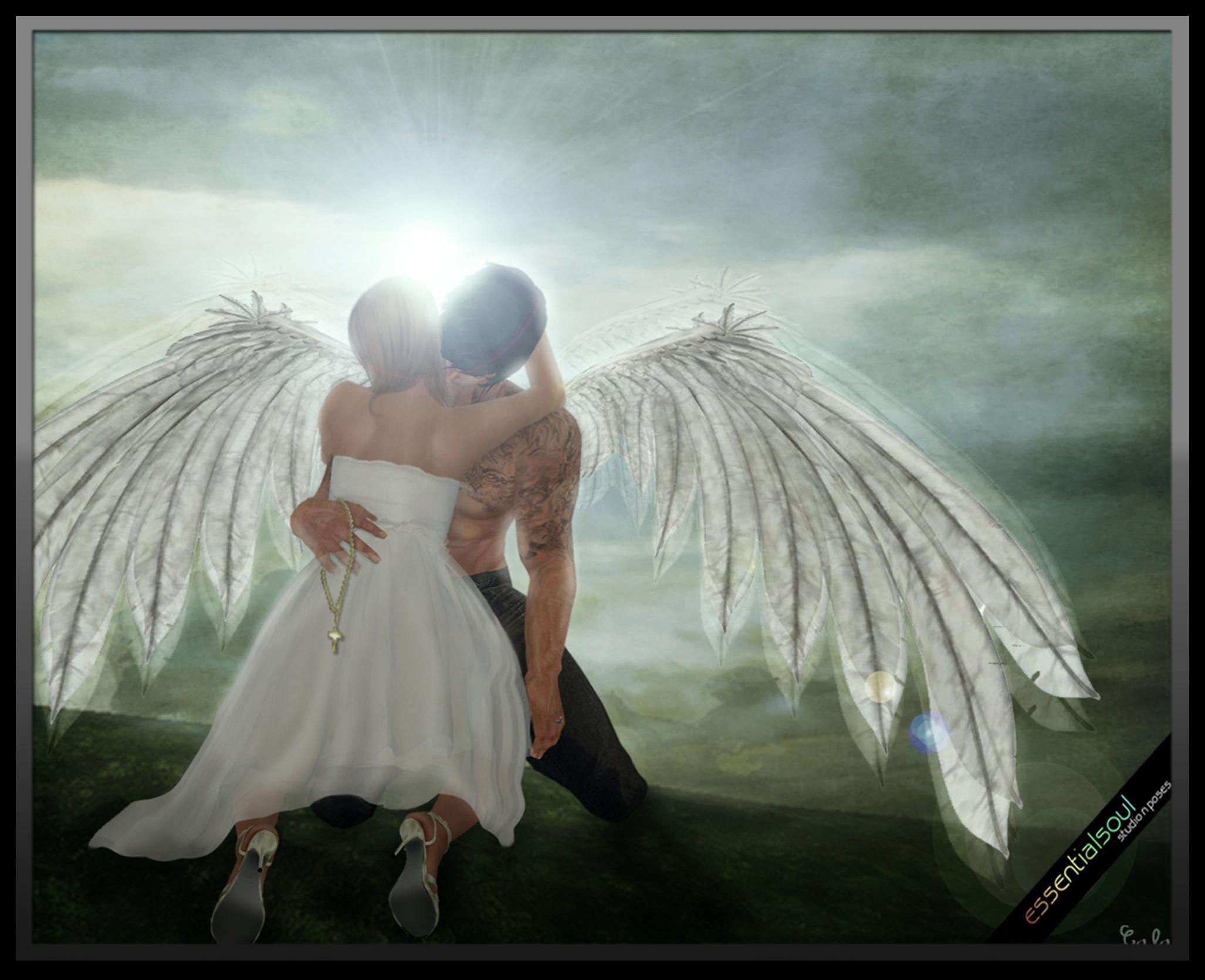 Картинки парень обнимает девушку ангел