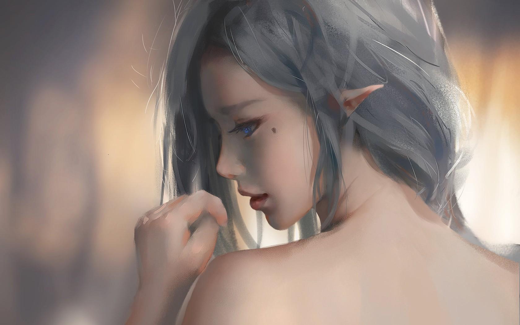 Brown Hair Fantasy Girl Art
