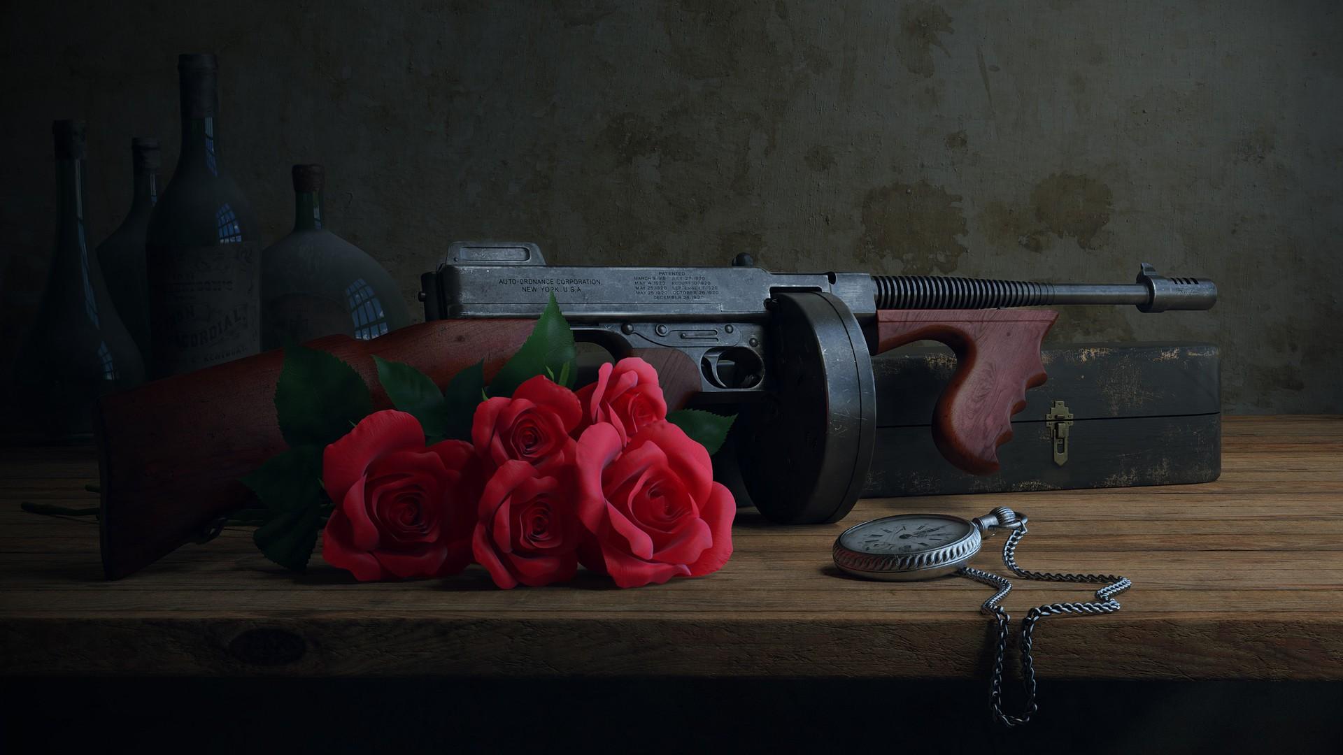 Masaüstü Boyama Eski Silah şişeler Izlemek Kırmızı Fotoğraf