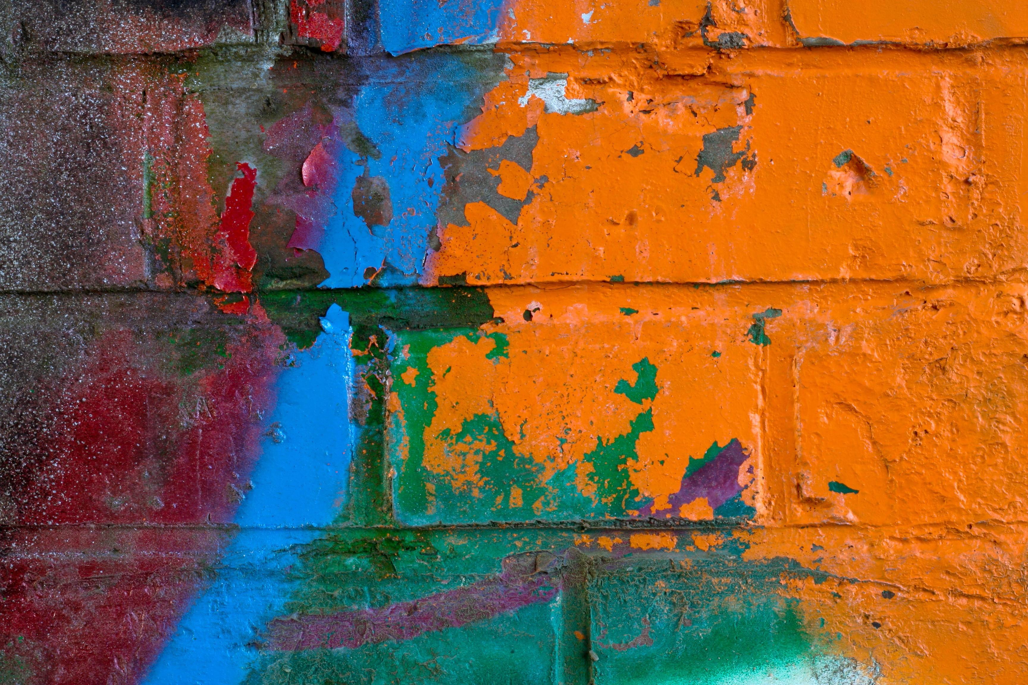 Fond D écran La Peinture Rouge Mur Bleu Texture Art