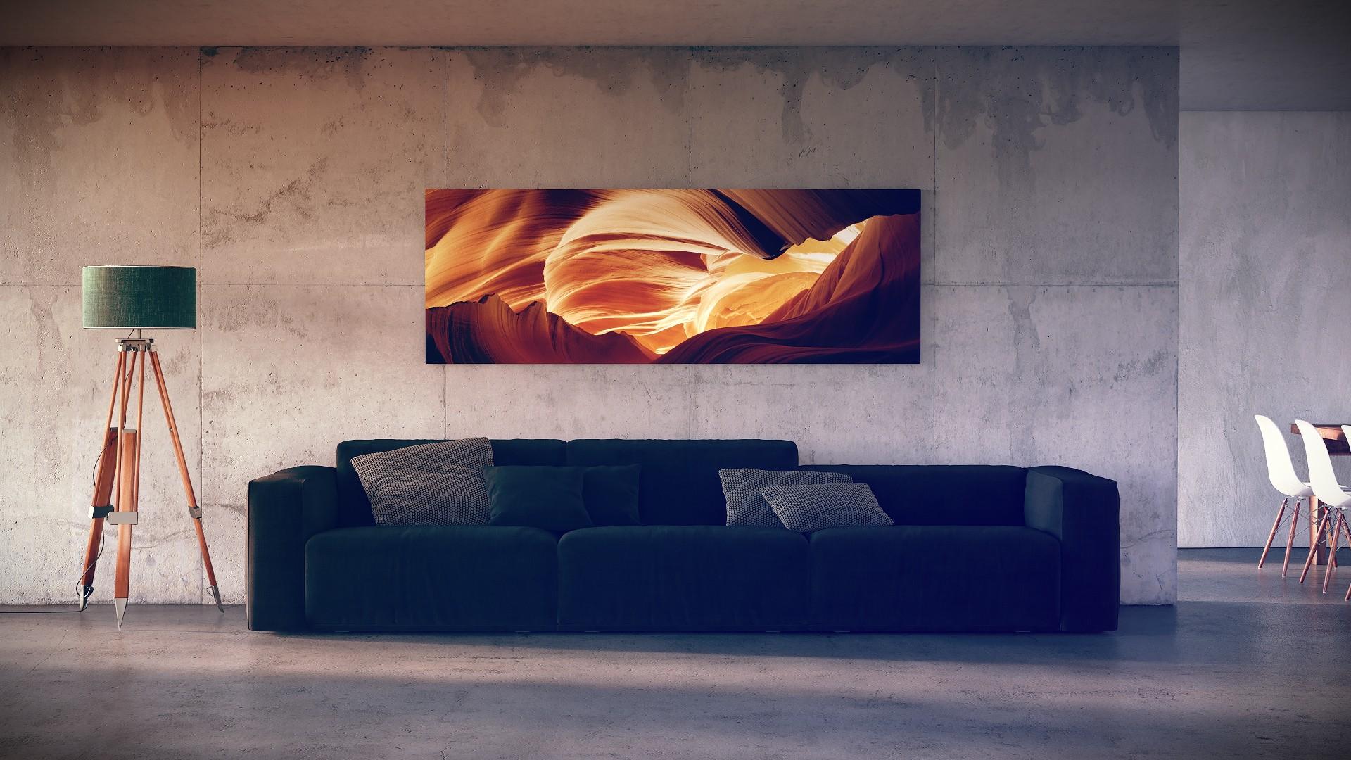 Baggrunde : maleri, værelse, interiør, væg, træ, sofa, blå, lampe ...