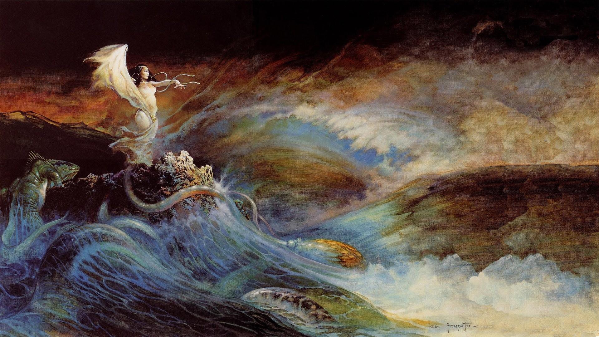 Wallpaper  Painting, Sea Monsters, Fantasy Art, Fantasy Girl, Artwork, Waves -6010