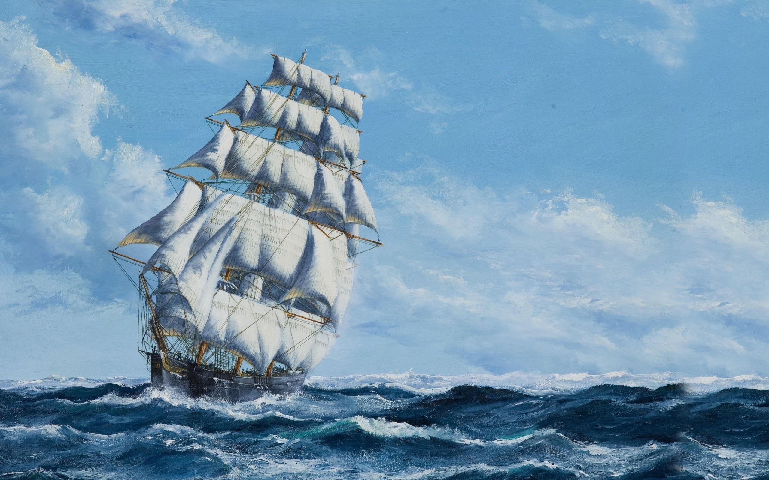 Masaüstü Boyama Tekne Yelkenli Gemi Deniz Su Gökyüzü Araç