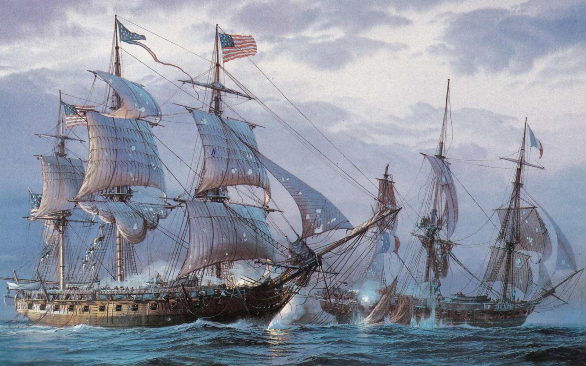 Masaüstü Boyama Yelkenli Gemi Deniz Araç Amerikan Bayrağı