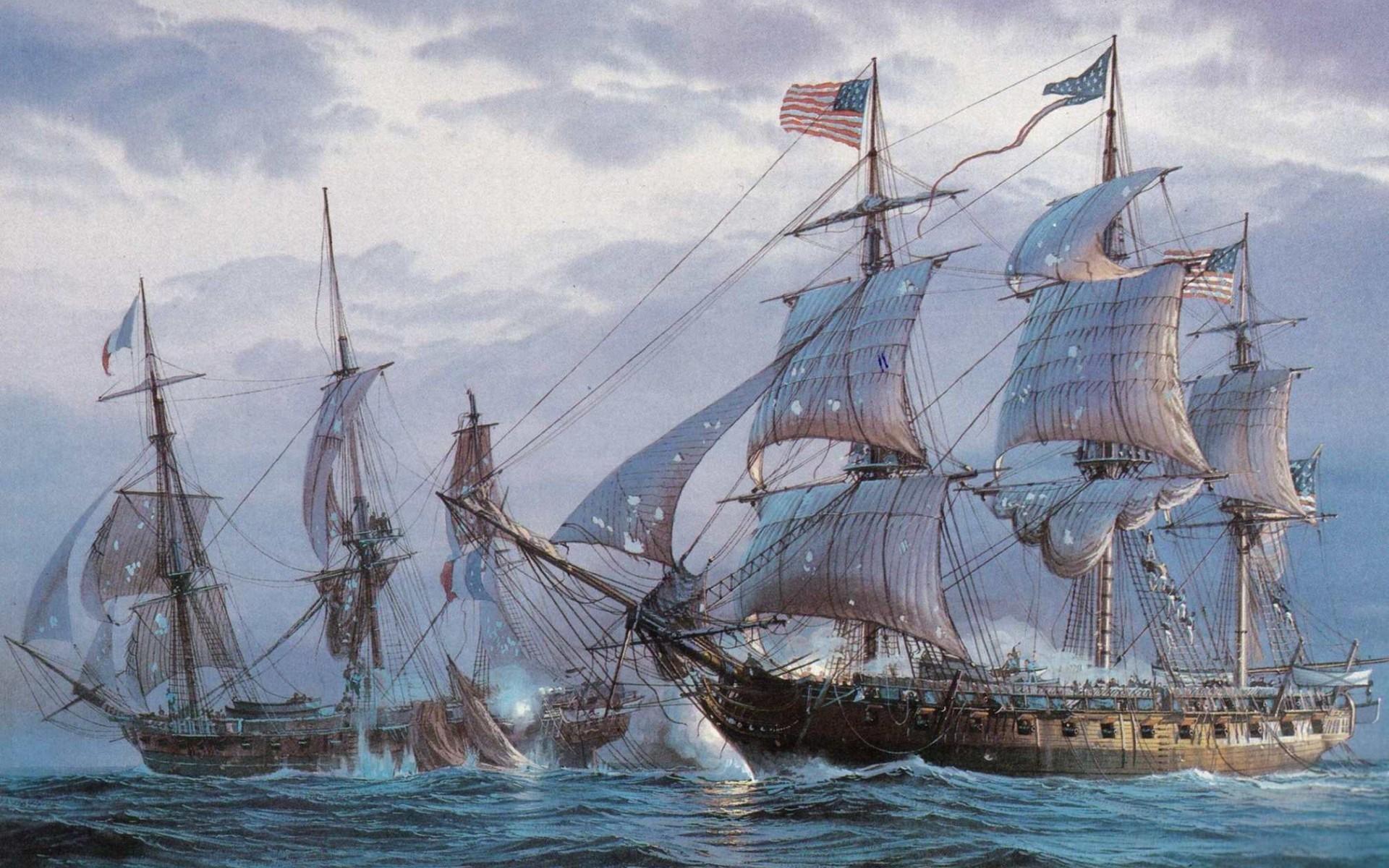 Masaüstü Boyama Yelkenli Gemi Deniz Araç Resim Amerikan