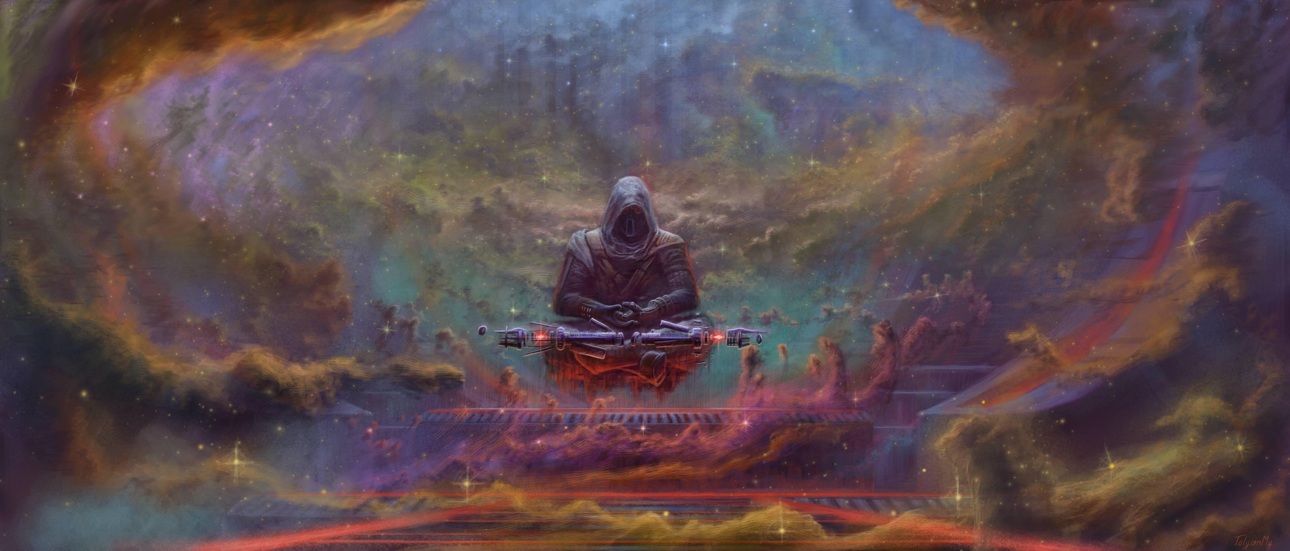 Wallpaper Painting Sith Nebula Universe Meditation Art
