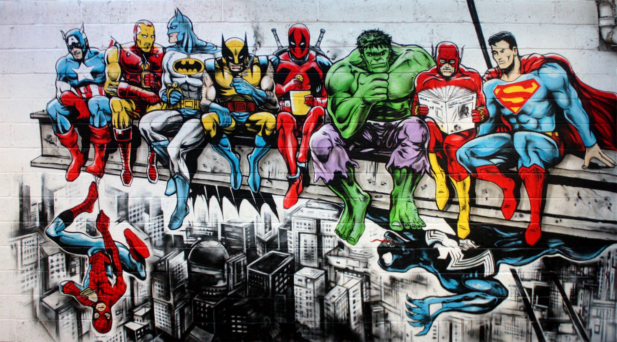 Masaüstü Boyama Sokak Yarasa Adam Wolverine Süper Kahraman