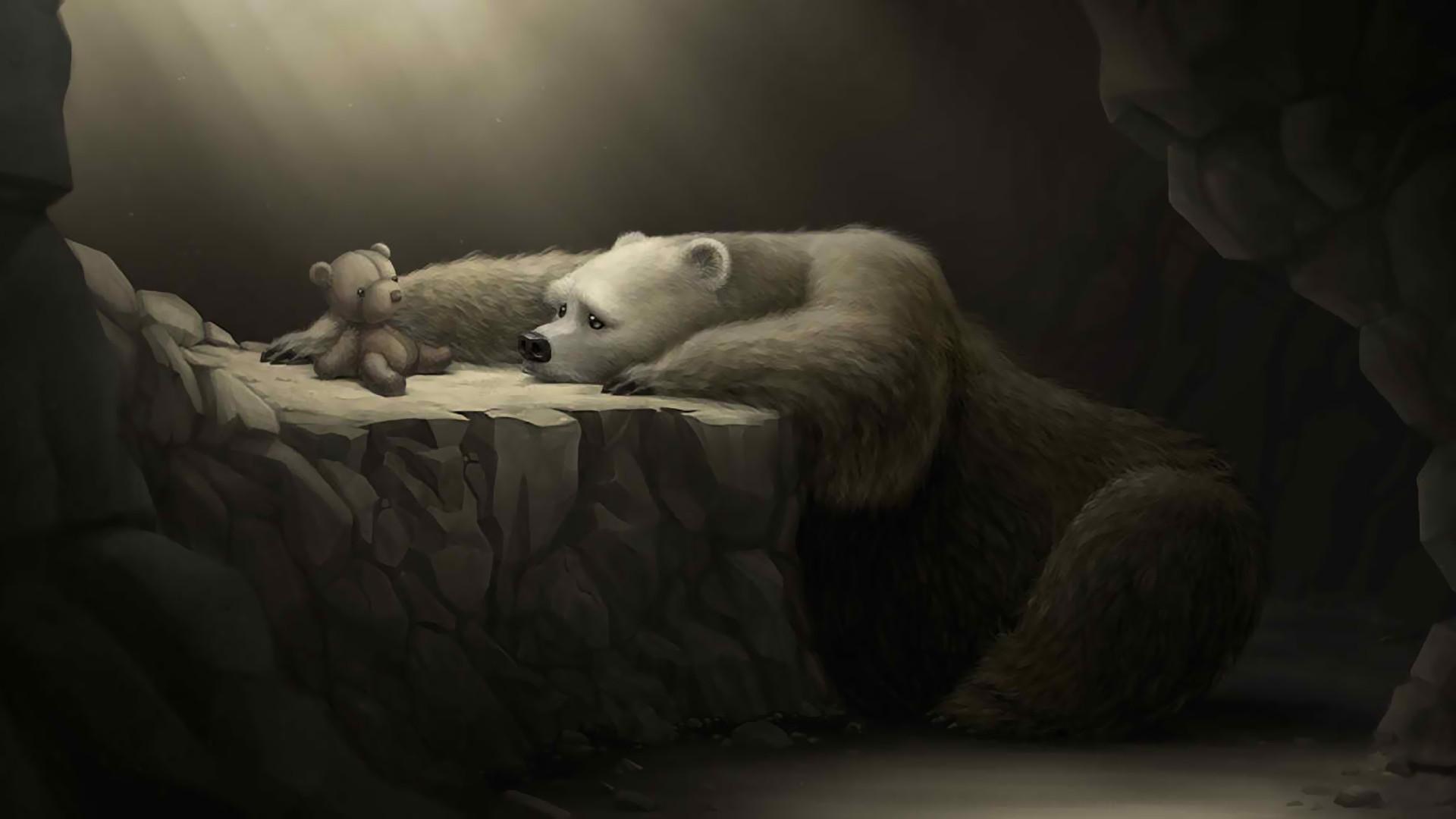 Masaüstü Boyama Oyuncak Ayılar Kutup Ayıları Mağara Karanlık