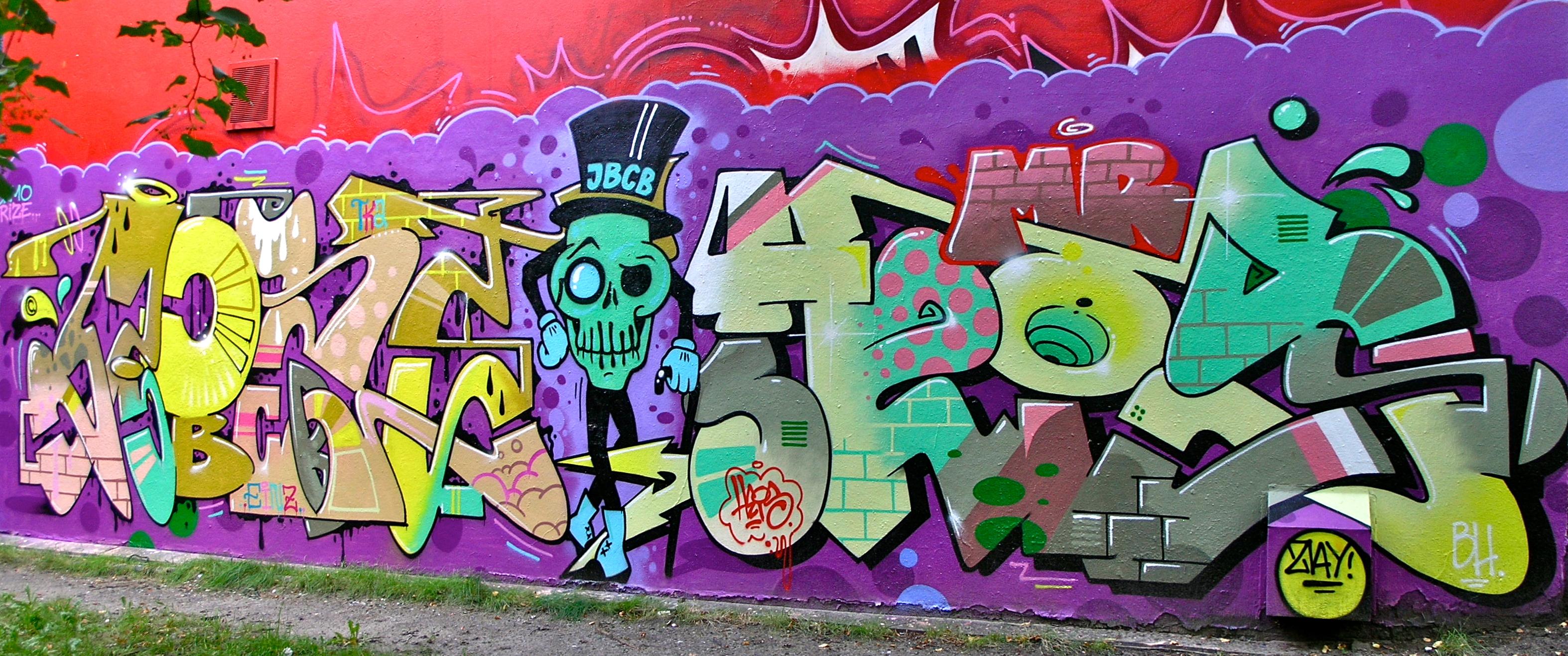Wallpaper Painting Urban Crew Wall Purple Skull Cowboys Graffiti Skeleton Street Art Pink Writing Can Hamburg Mural Spray Juke ART
