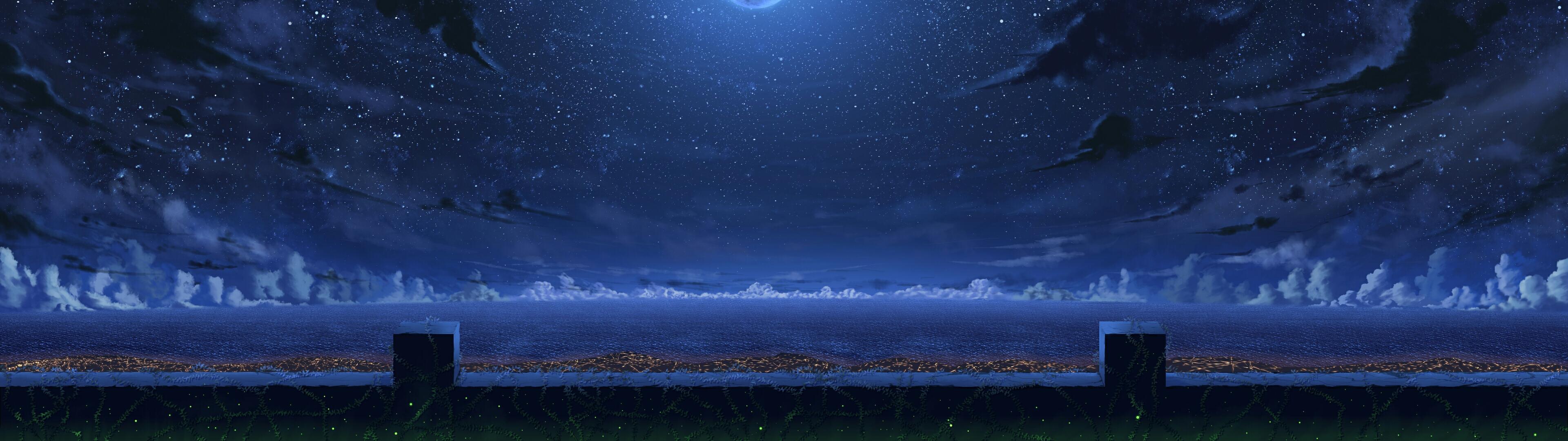 デスクトップ壁紙 パノラマ アートワーク 海 雲 空 星 3840x1080 Hampamatta デスクトップ壁紙 Wallhere