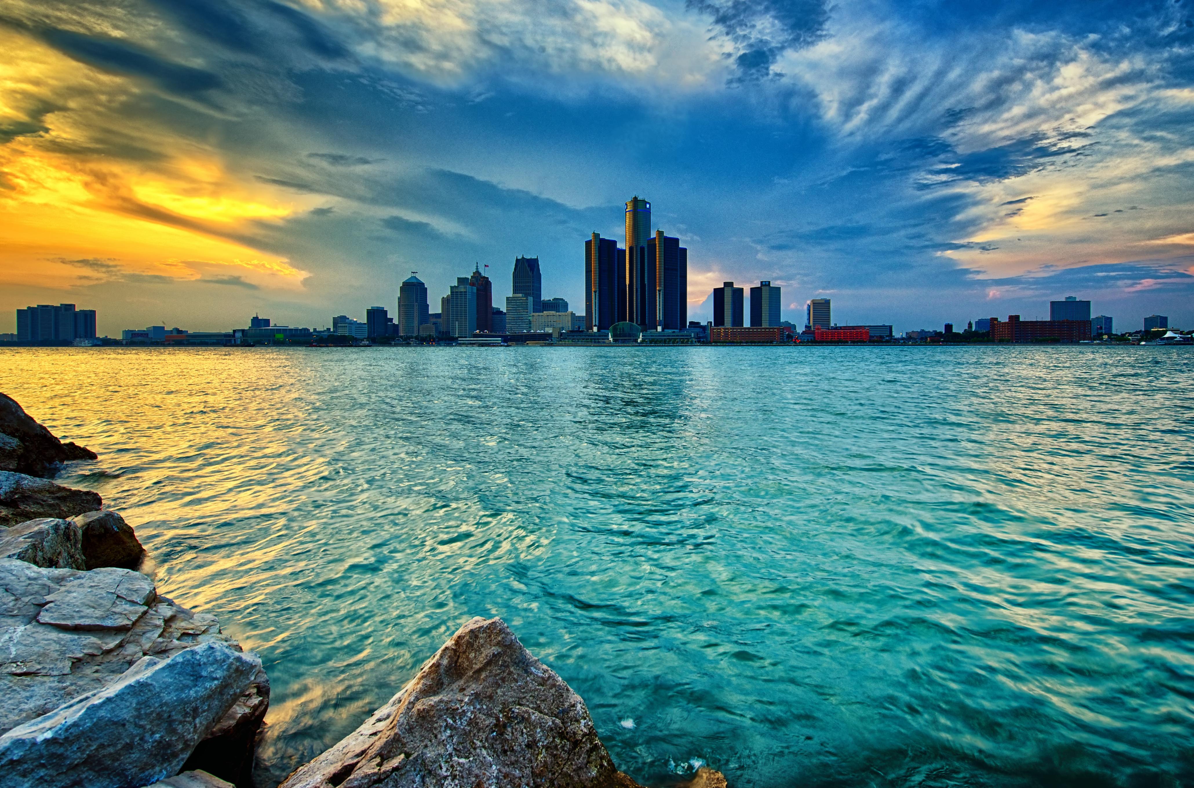 park city longexposure Ontario Canada water skyline rocks day cloudy fireworks Detroit windsor crowds detroitriver 55thanniversary