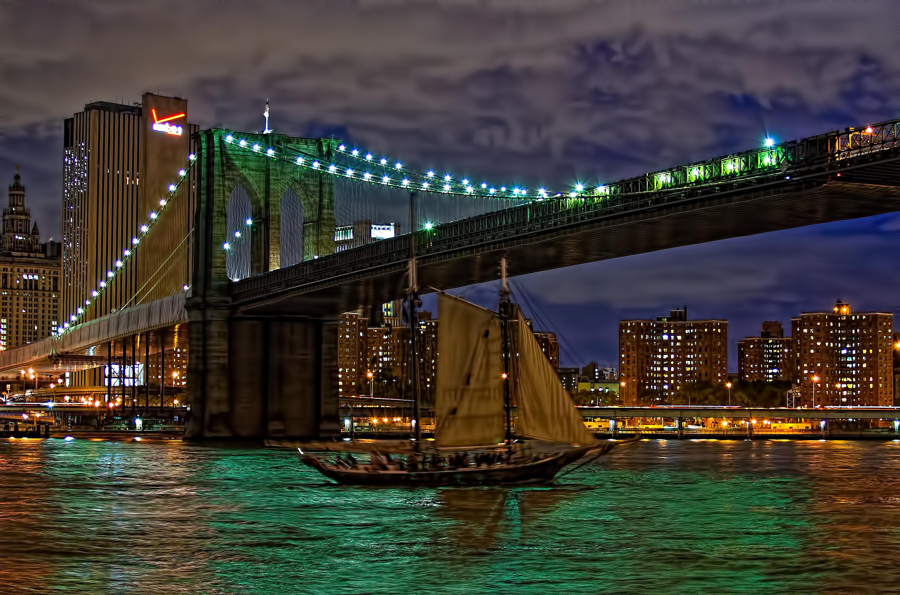 Обои brooklyn bridge park, Nyc, ночь. Города foto 17