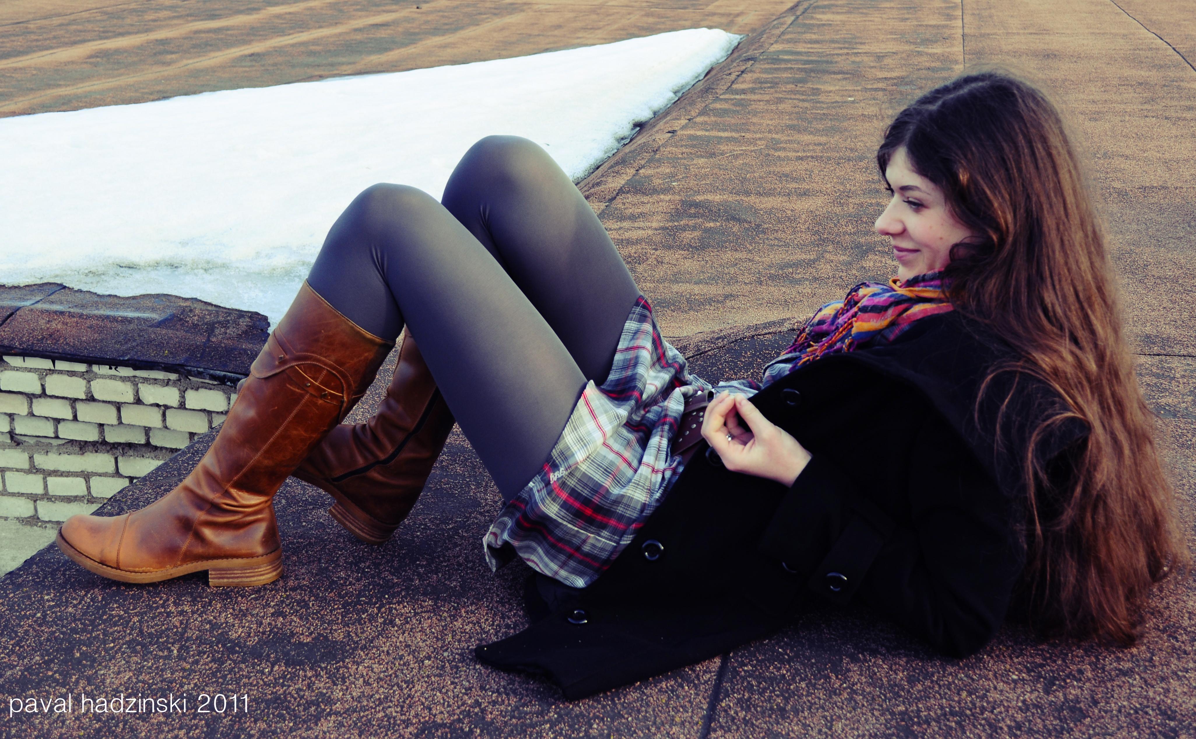 Wallpaper People Women Model Portrait City Street Long Hair Urban Sitting Pantyhose Black Nikon Tights ART Light Pretty Girl Beauty