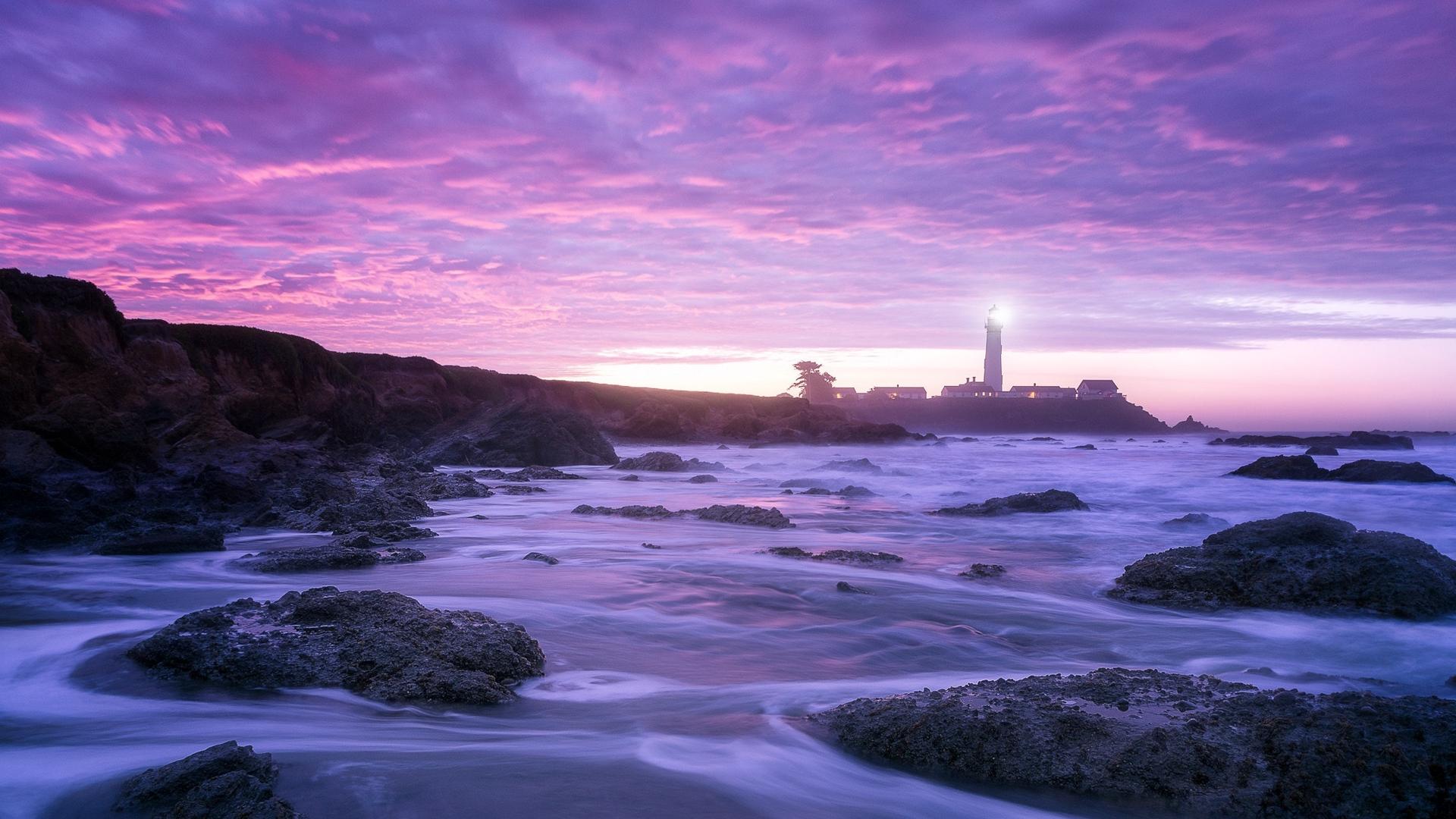Sfondi Pescadero Viola Rosa Mare Faro Notte Rocce Nuvole