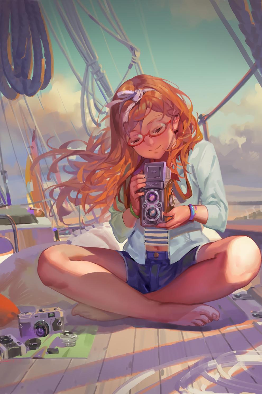 Phone anime girls redhead glasses sea photography happy