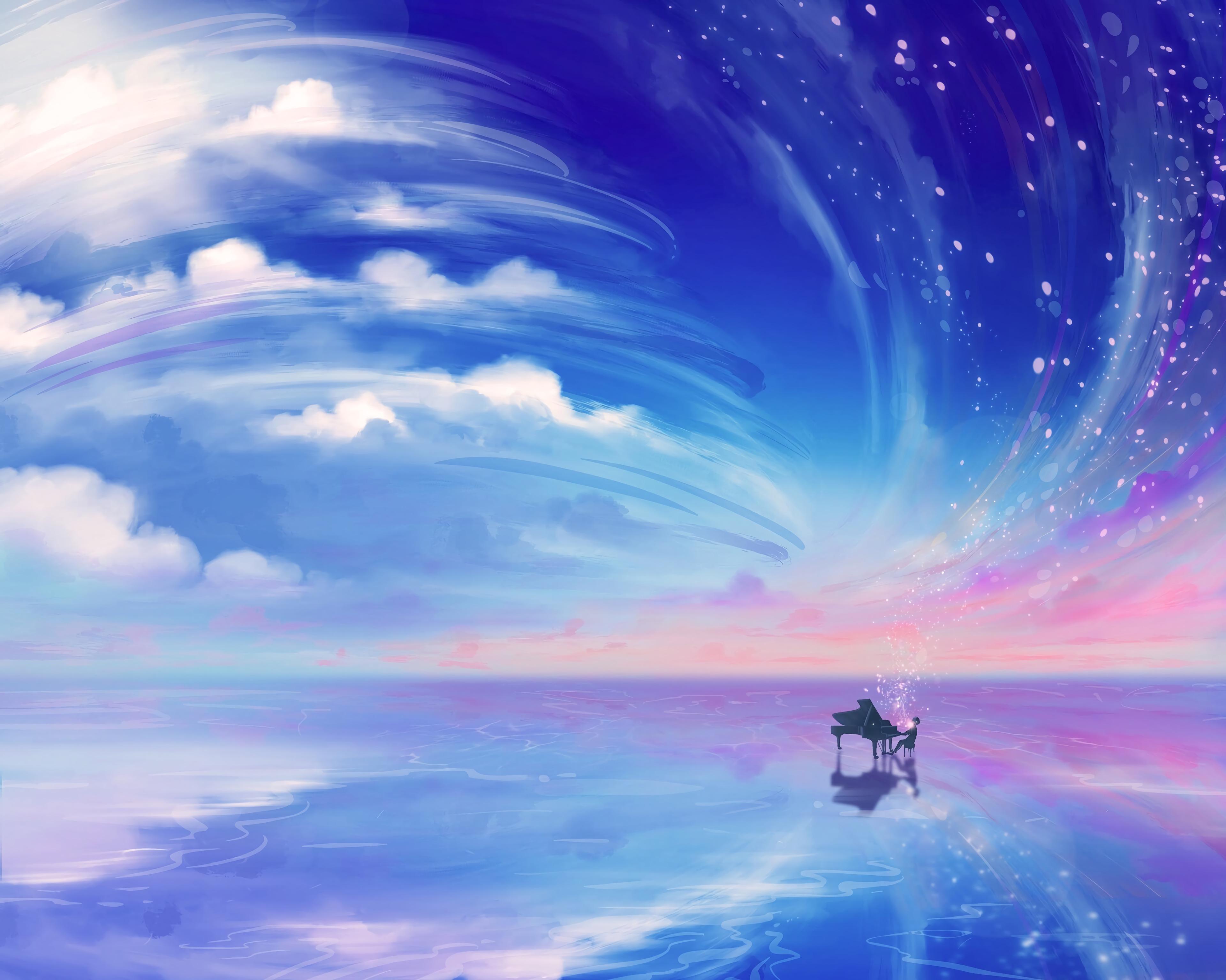 Wallpaper Piano Clouds Digital Art Fantasy Art Sky