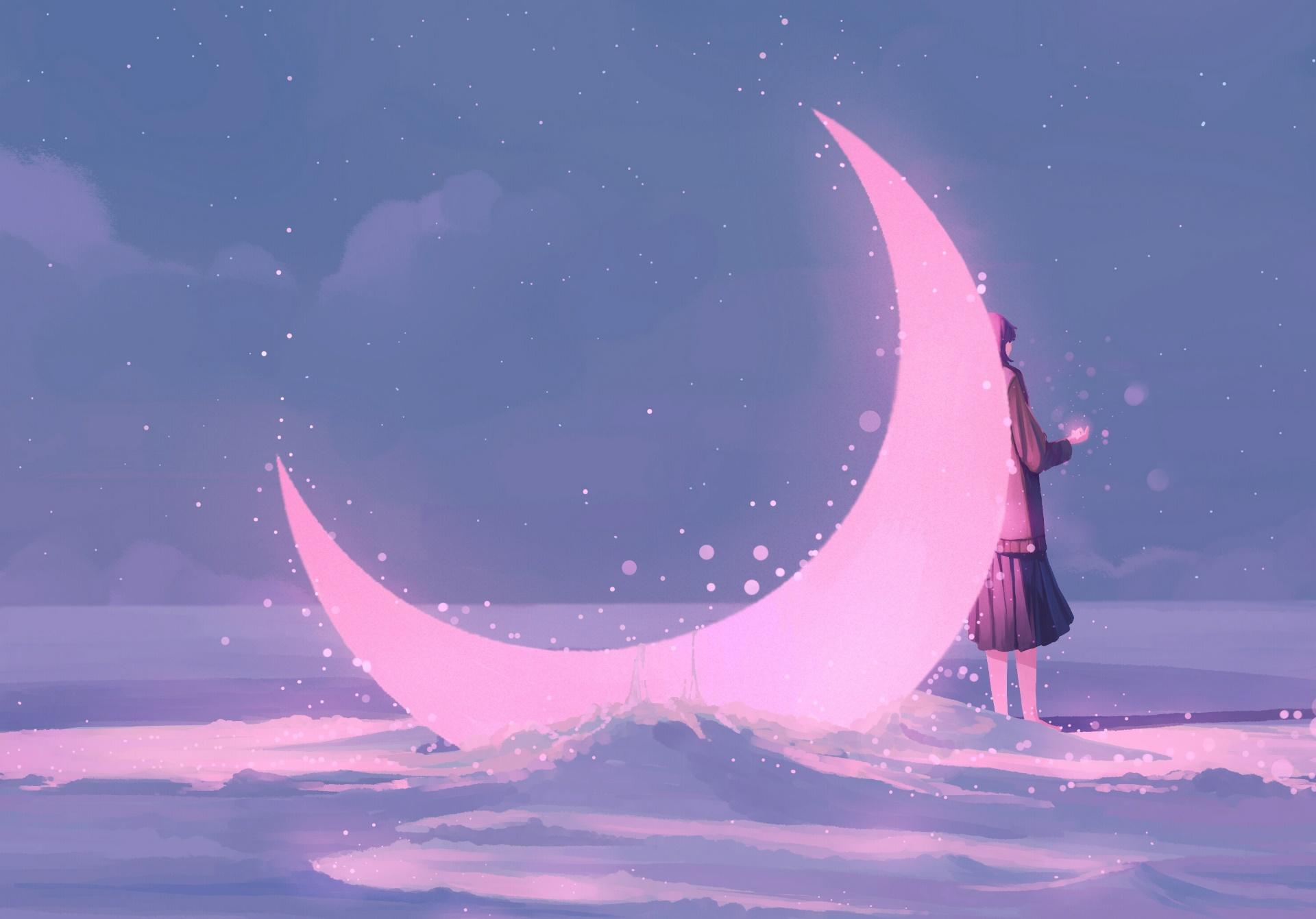 Wallpaper Pink Moon Fantasy Art Fantasy Girl Artwork