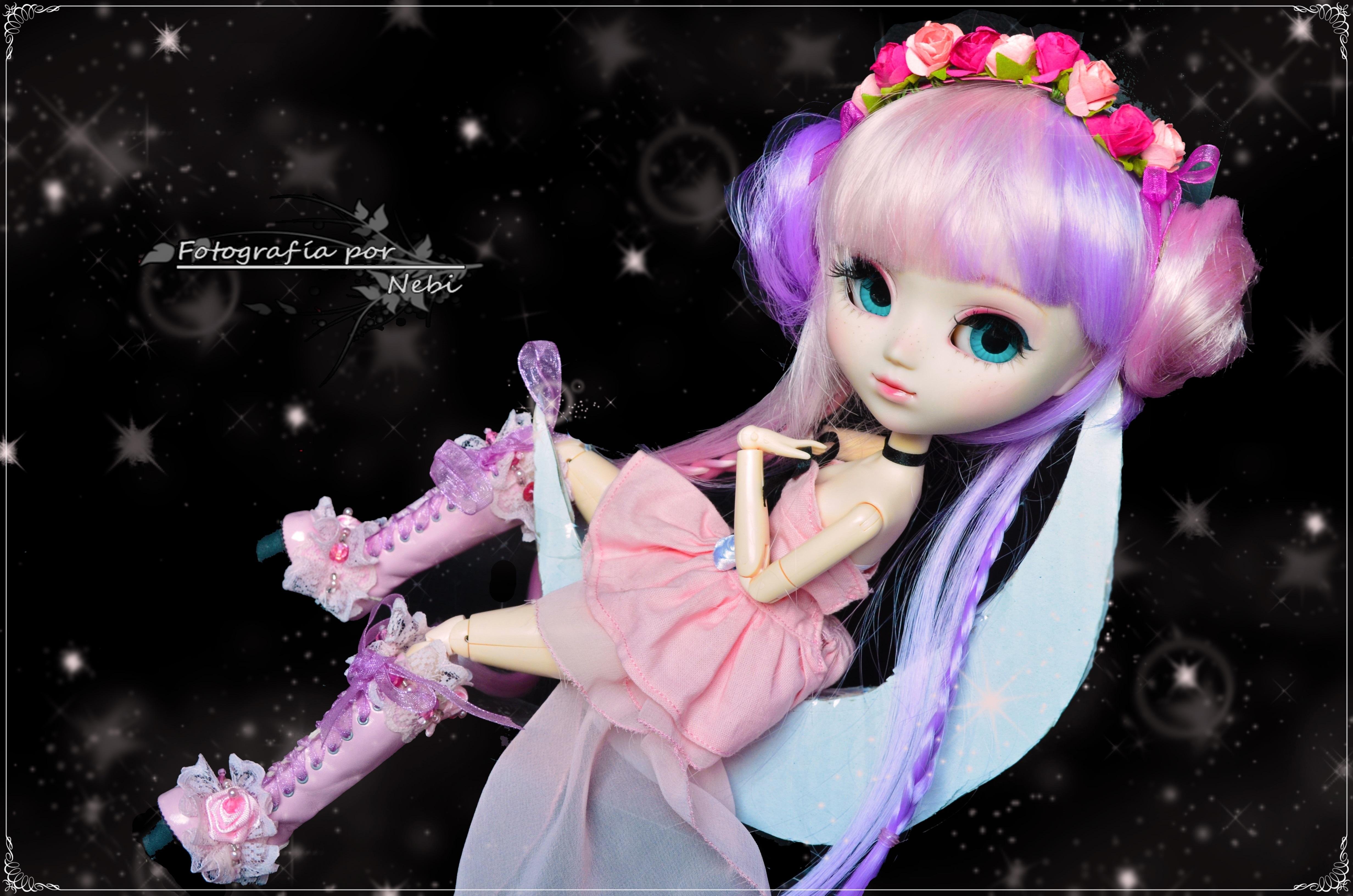 Wallpaper Pink Doll Human Hair Color Purple Black Hair Girl