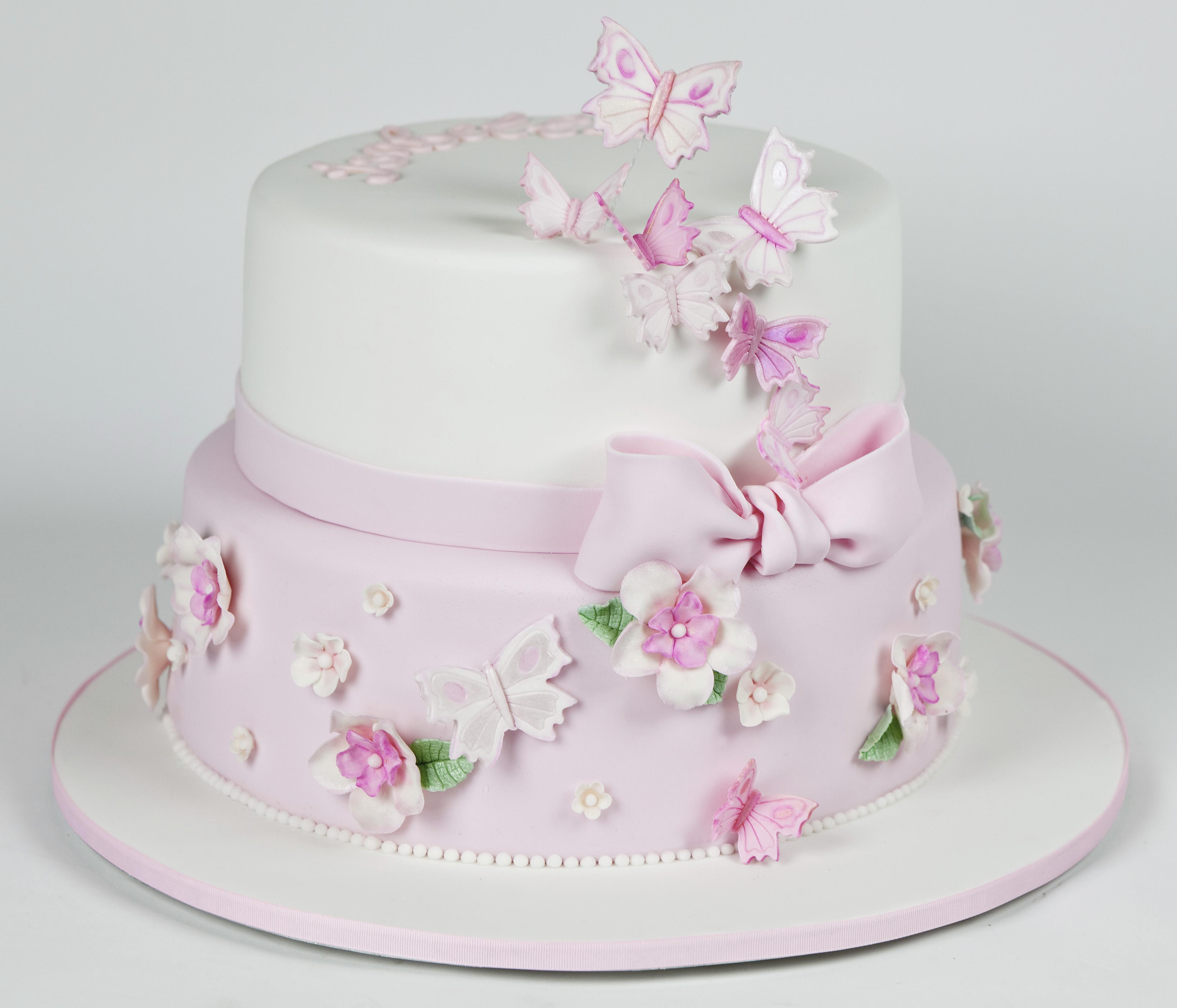 Sfondi Rosa Fiori Bambino Ragazza Torta Cioccolato Farfalle