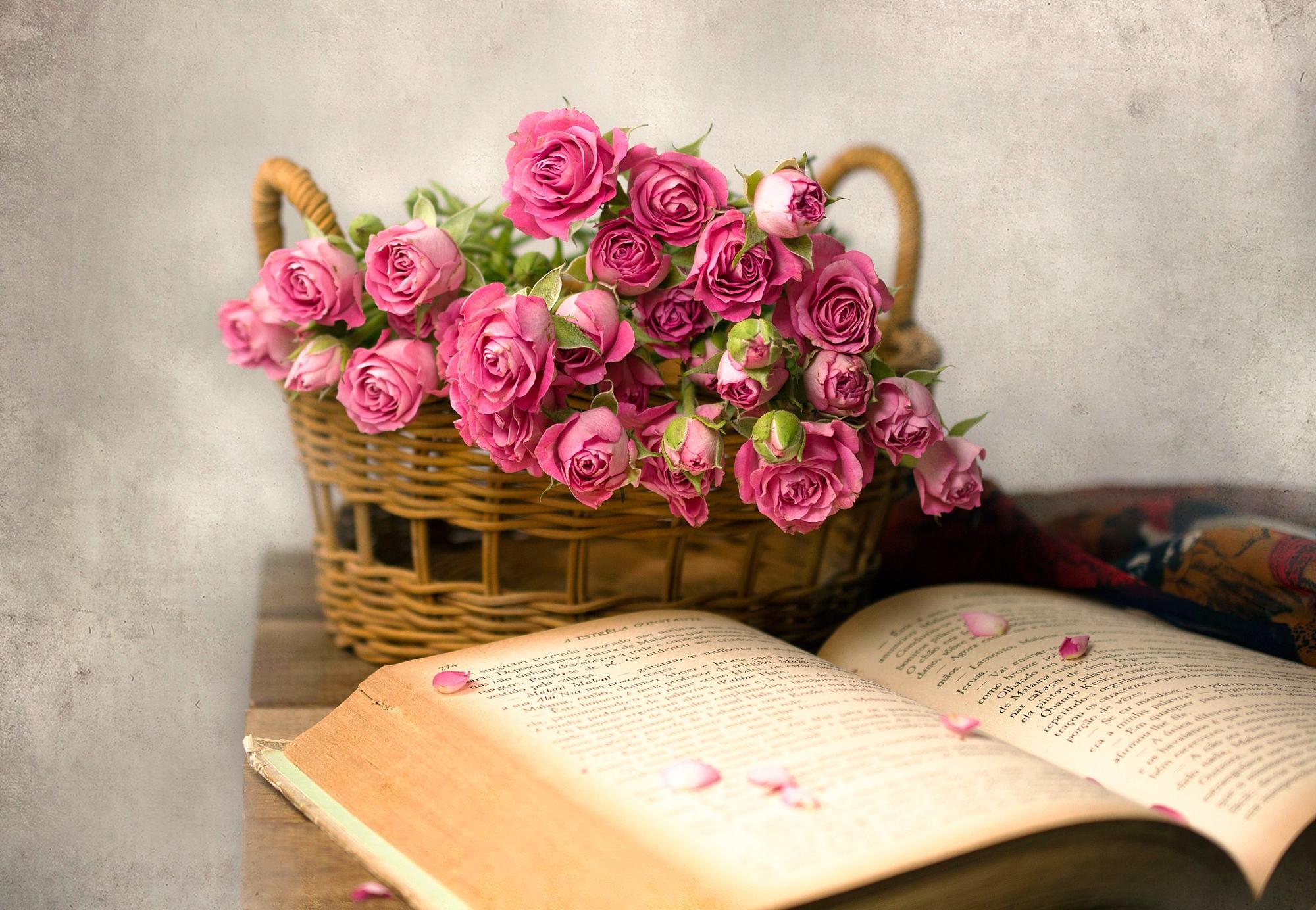 Открытка книга цветы