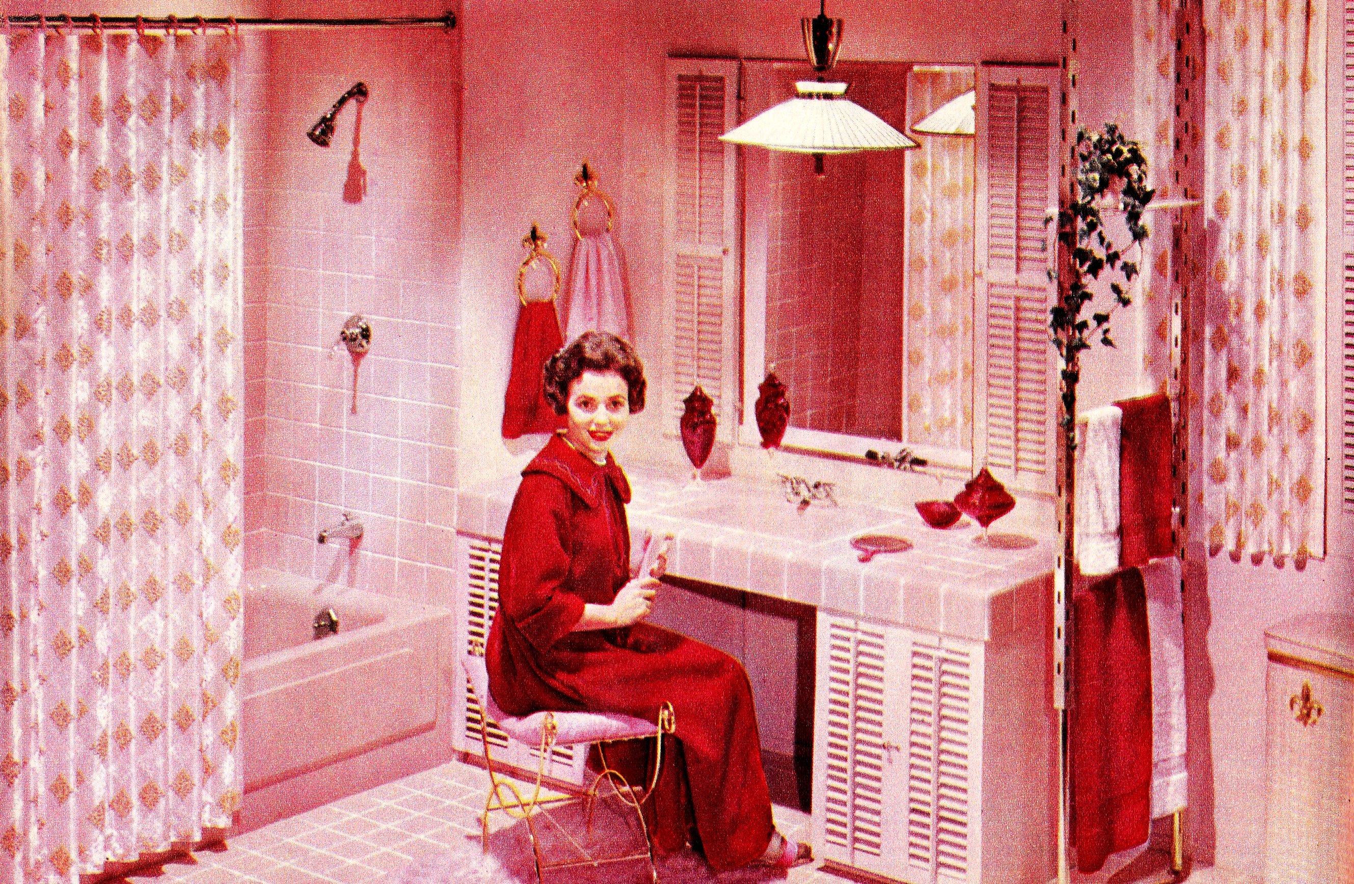 Wallpaper Pink Red Vintage Magazine Bathroom Sink Vanity Ad