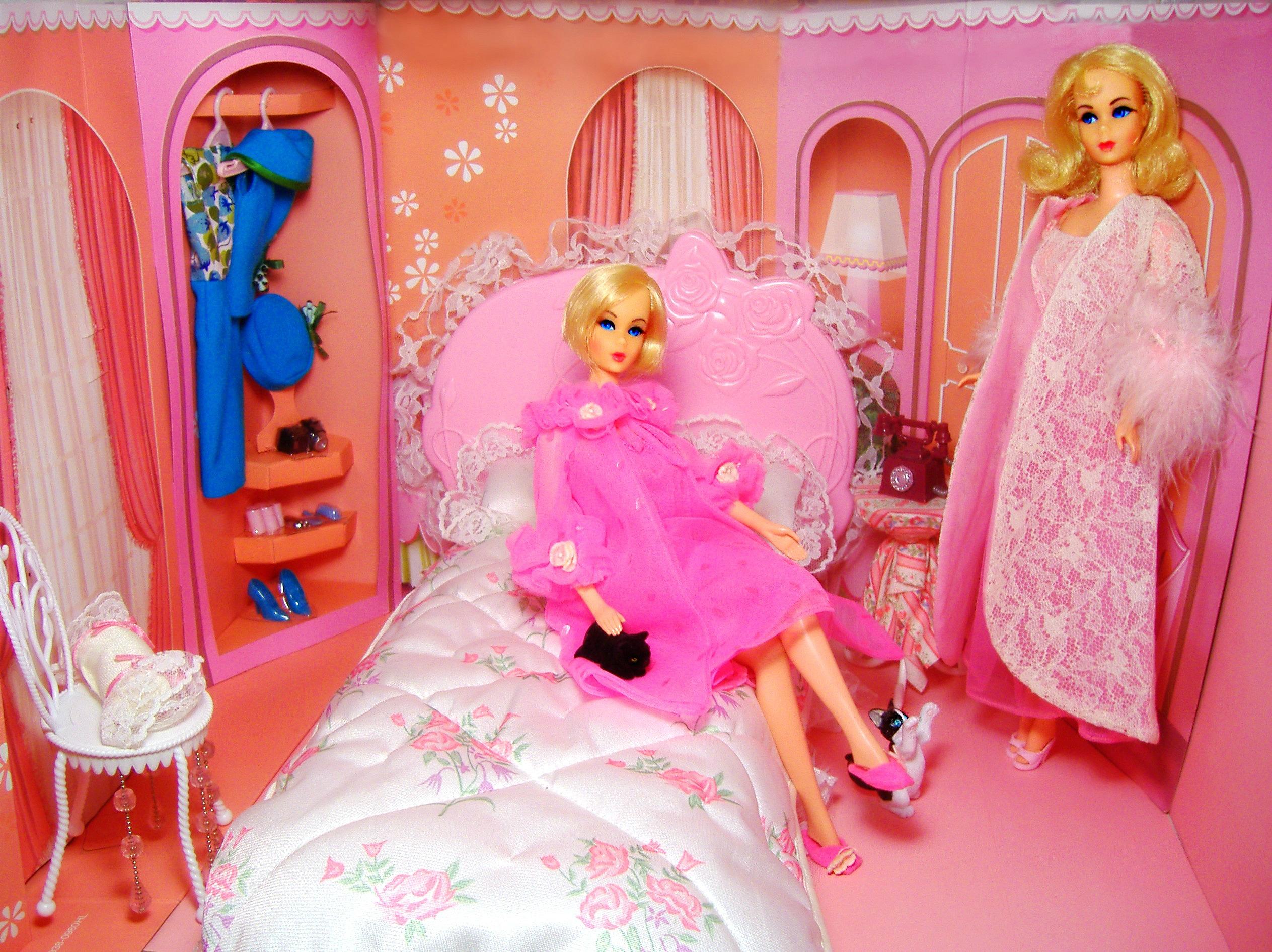 barbie seng Baggrunde : lyserød, roser, årgang, hår, seng, mod, sød, vinyl  barbie seng