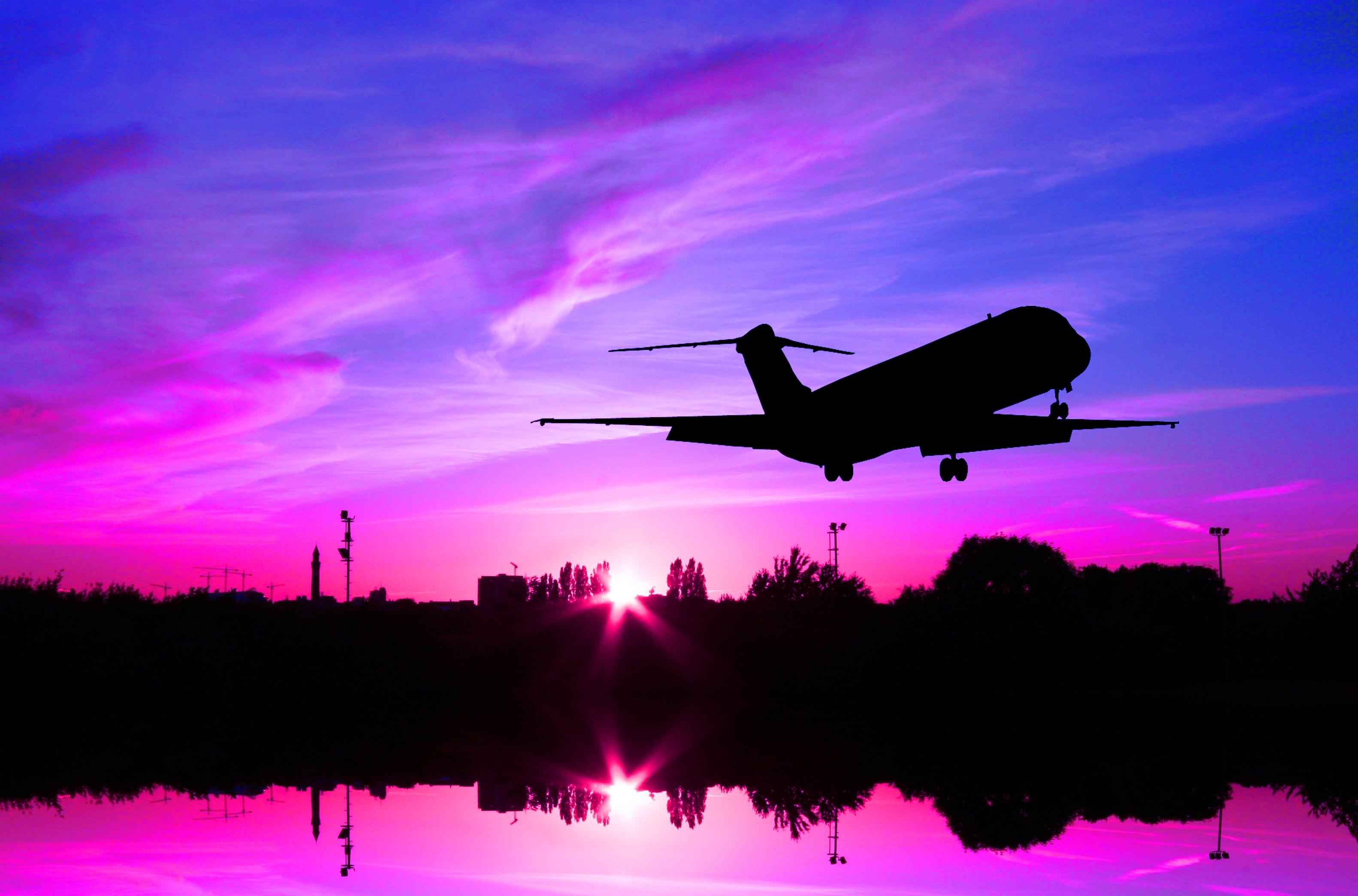 Wallpaper : pink, sunset, sky, silhouette, plane, airplane ...