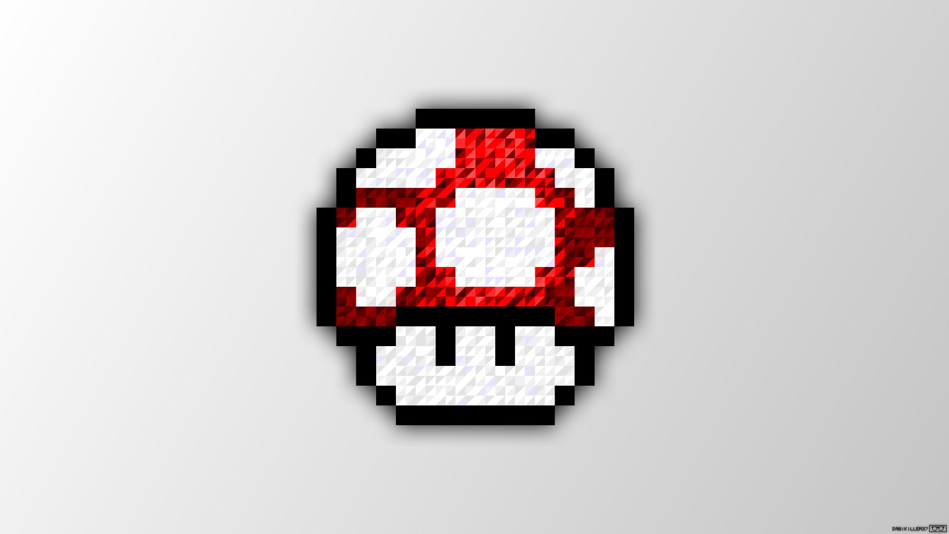 Fond Décran Pixel Art Trixel Super Mario Champignon